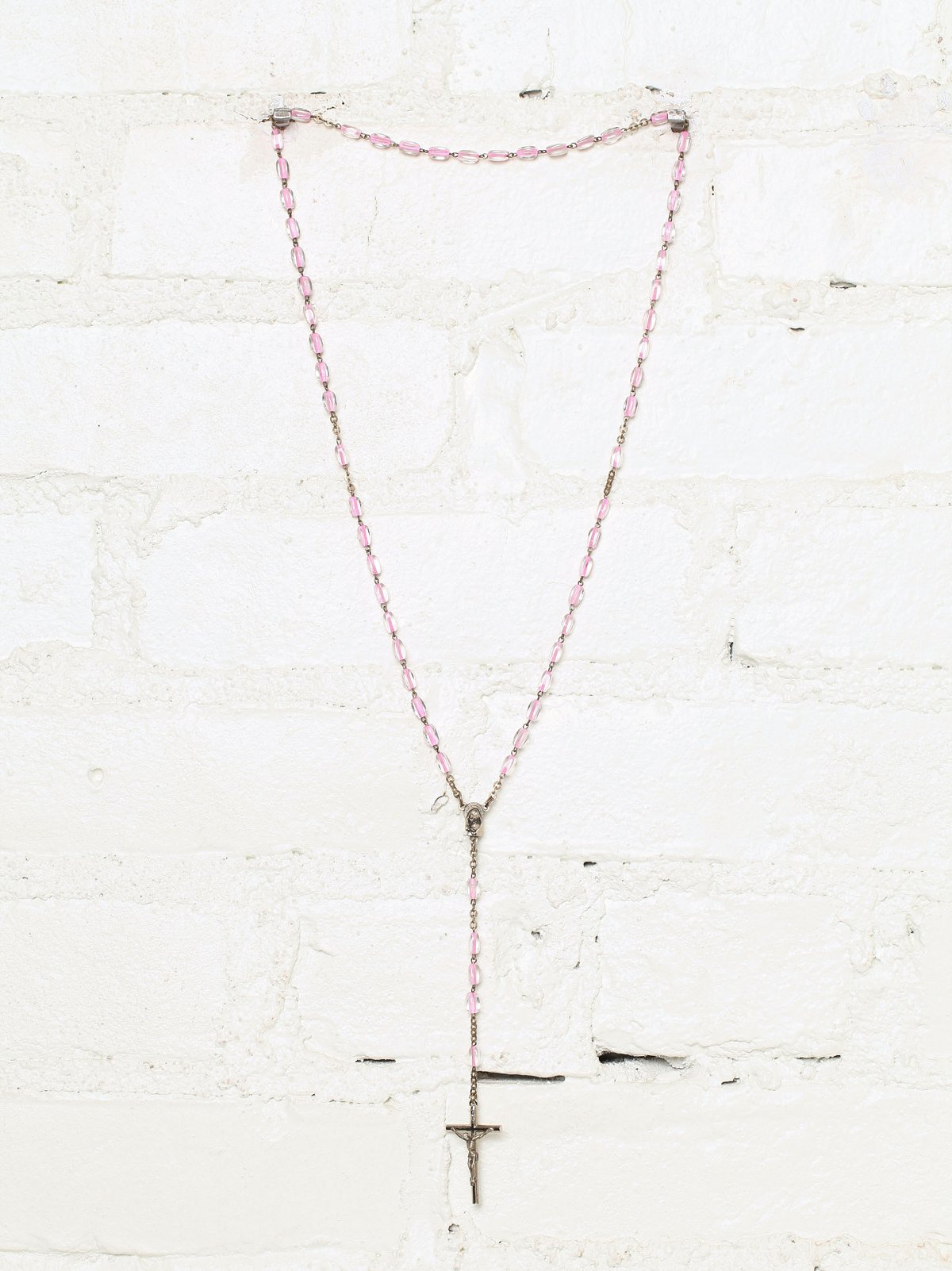 Vintage Pink Beaded Rosary Necklace