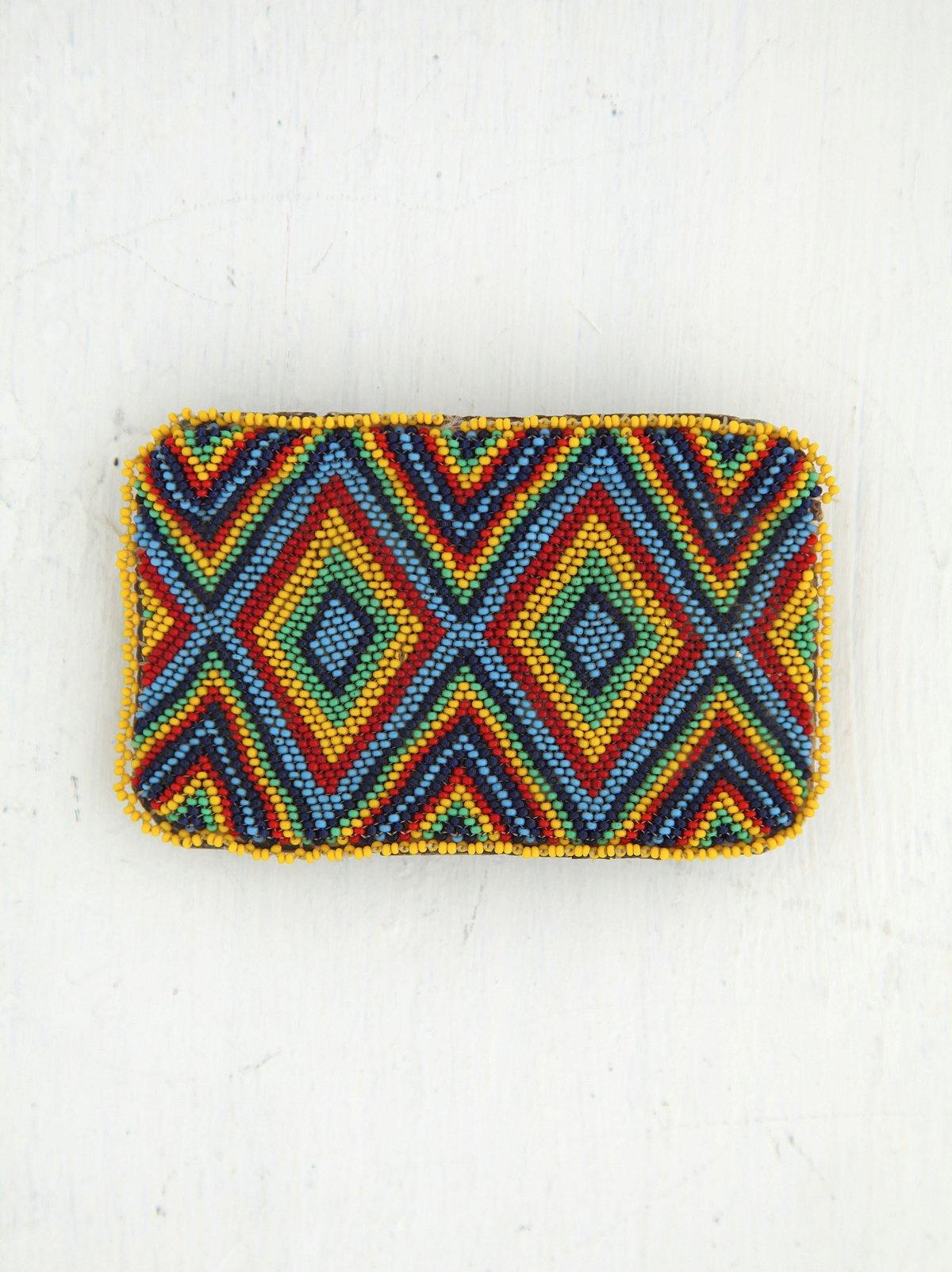 Vintage Multicolor Beaded Belt Buckle