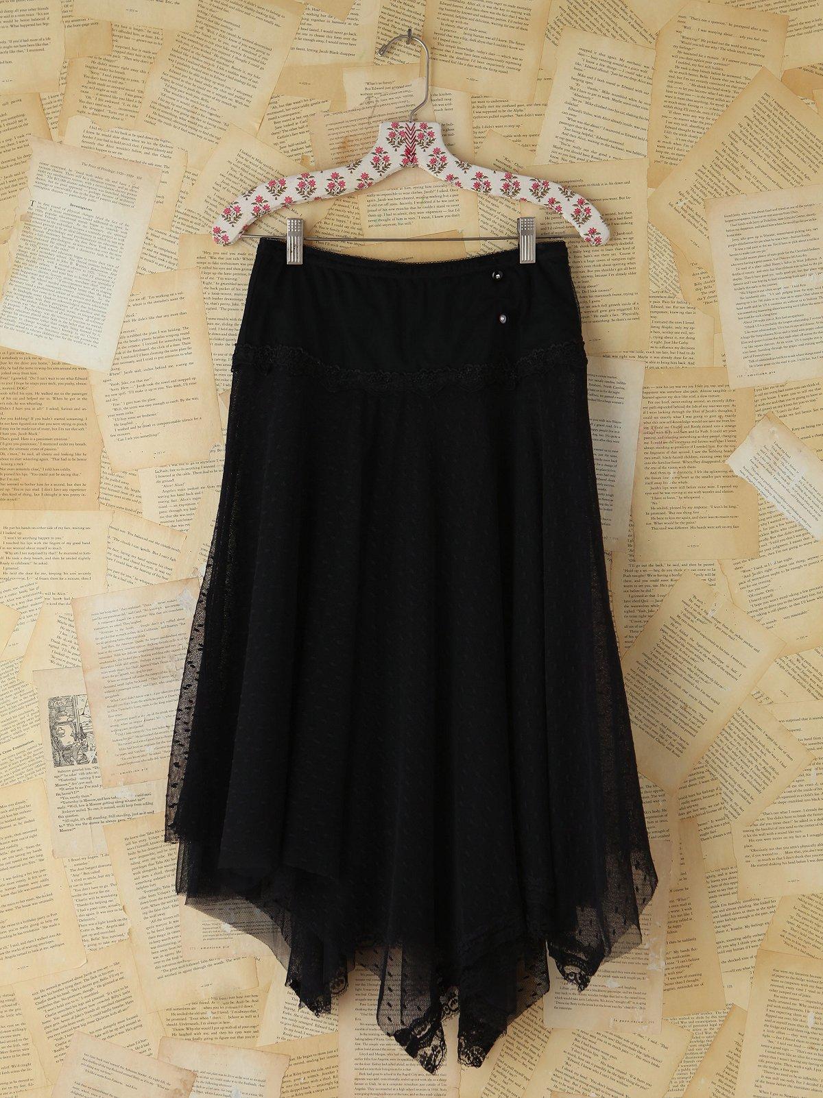 Vintage Black Dotted Mesh Skirt