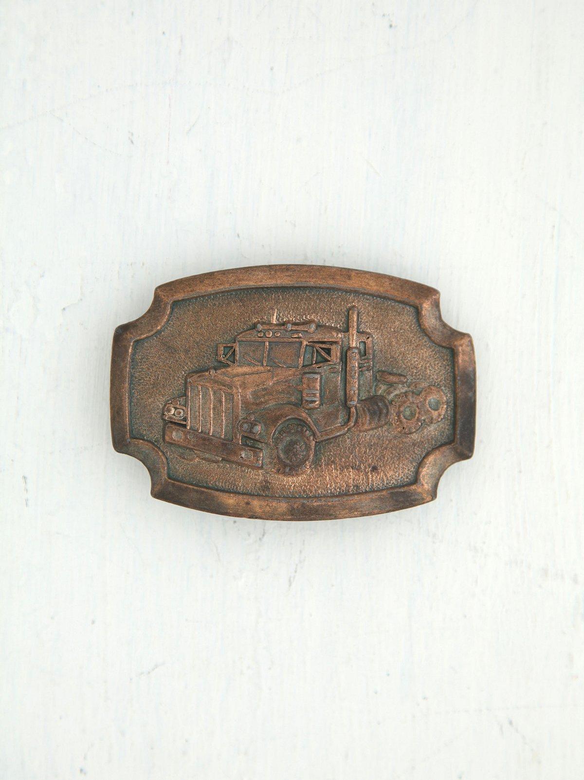 Vintage Truck Metal Belt Buckle