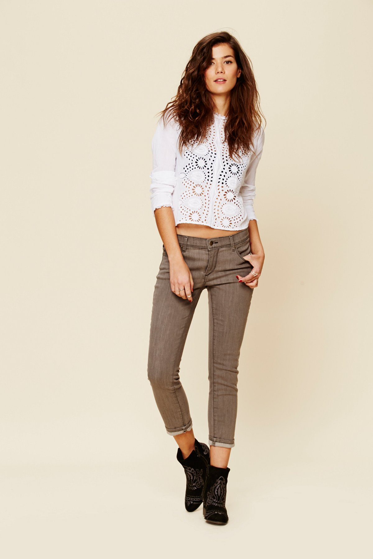 Rolled Cropped Skinny