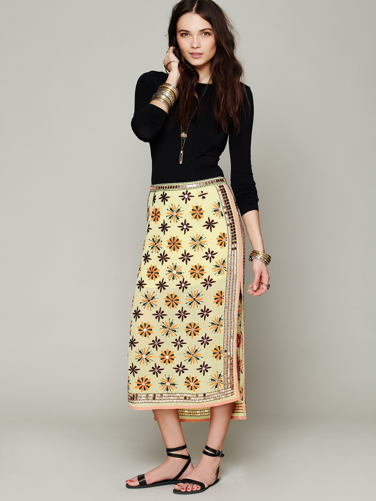 FP New Romantics Mirror Embroidered Column Skirt