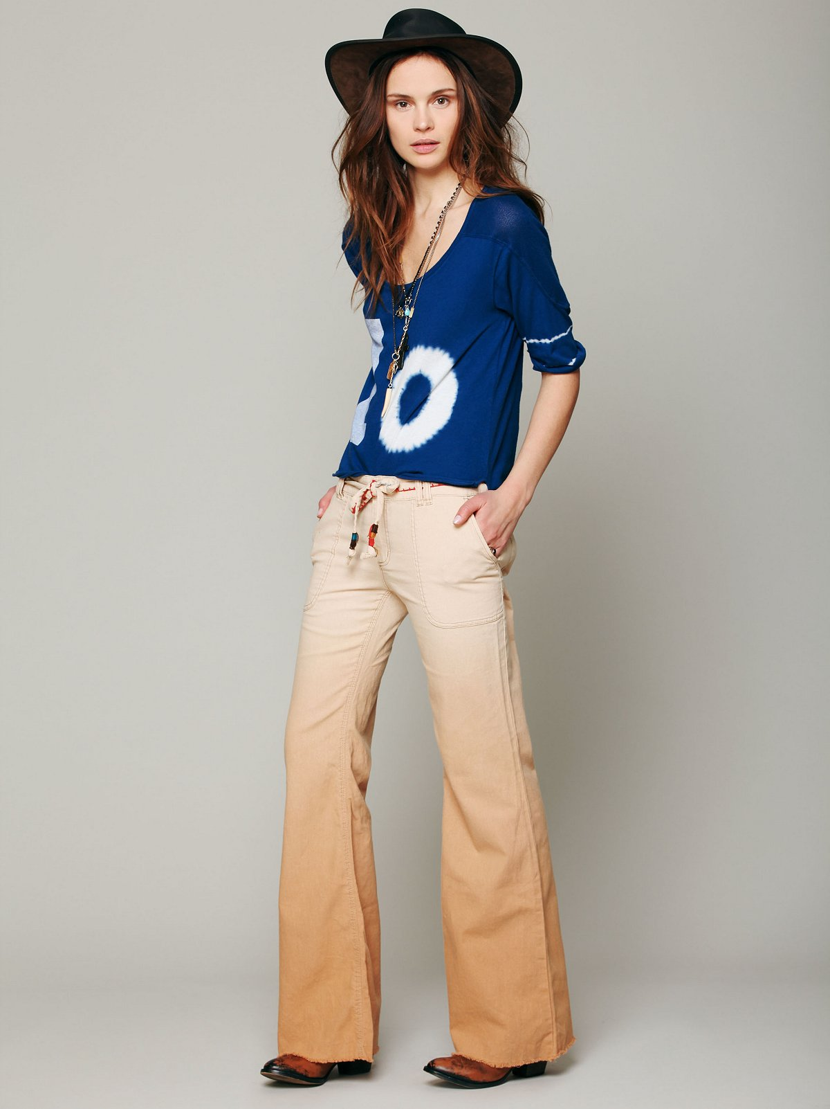 Ombre Linen Wideleg Pants