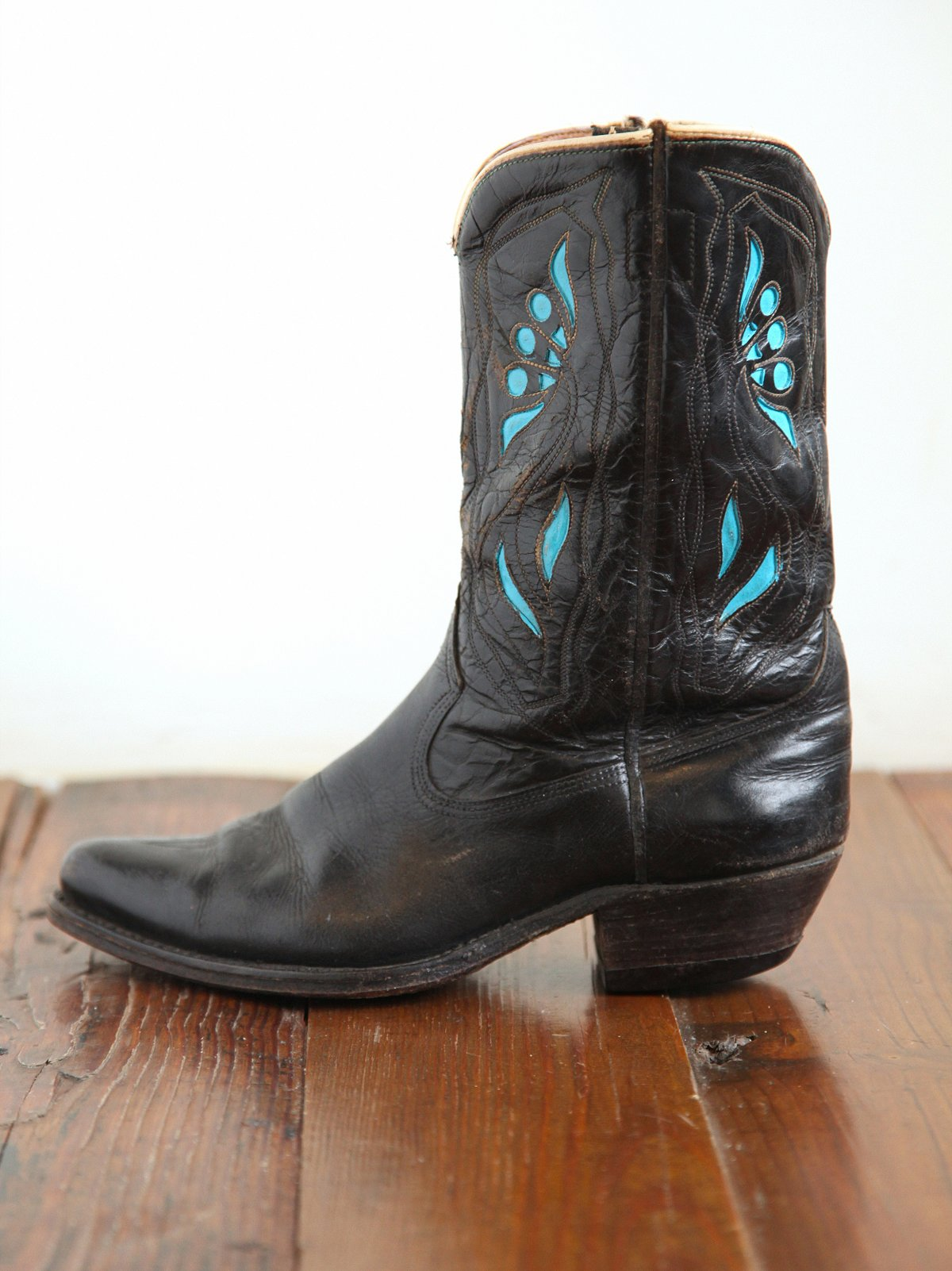 Vintage Black and Turquoise Cowboy Boots