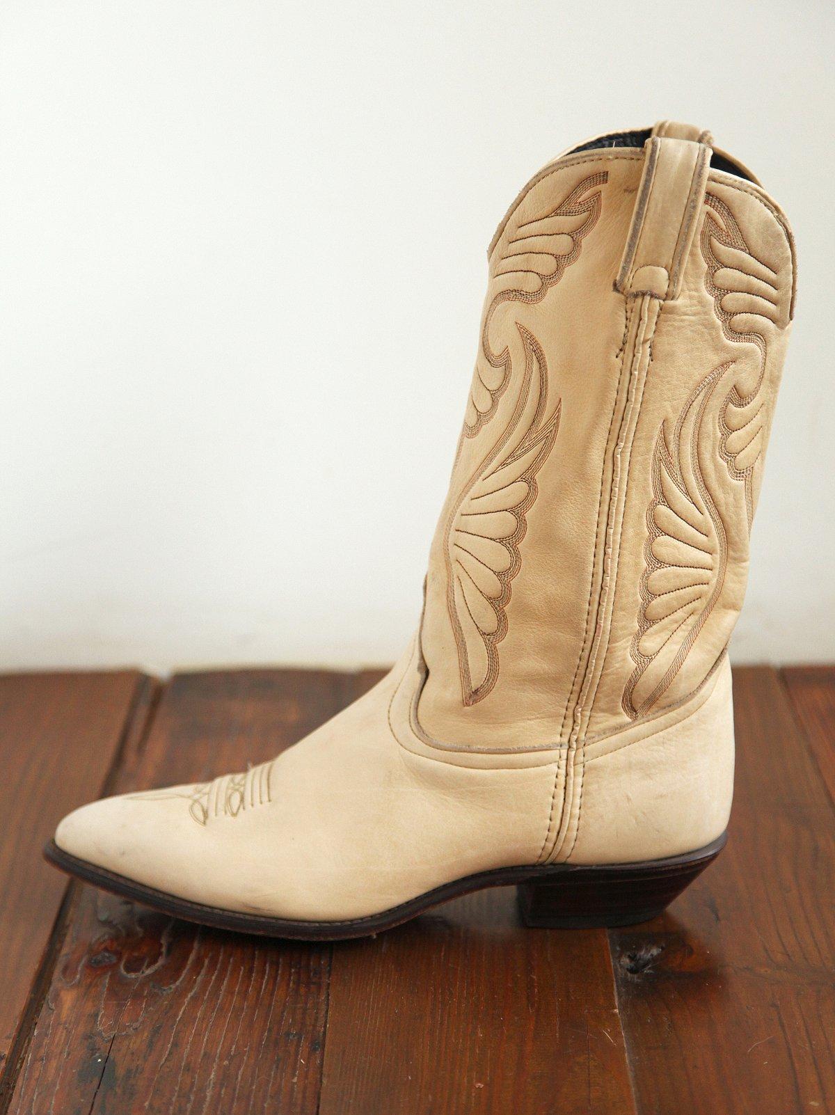 Vintage Cream Leather Cowboy Boots