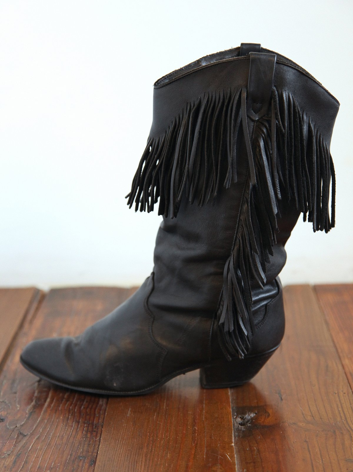 Vintage Fringed Leather Cowboy Boots