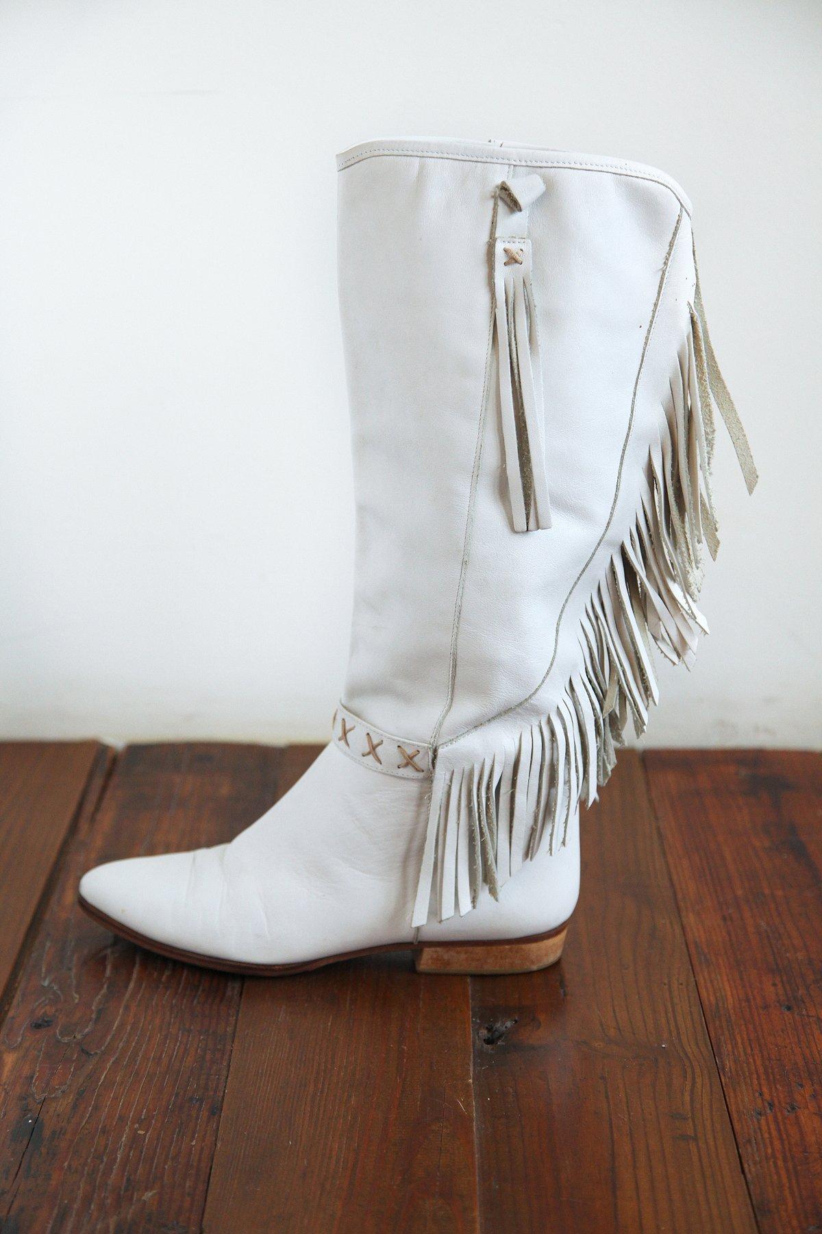 Vintage White Leather Fringe Boots