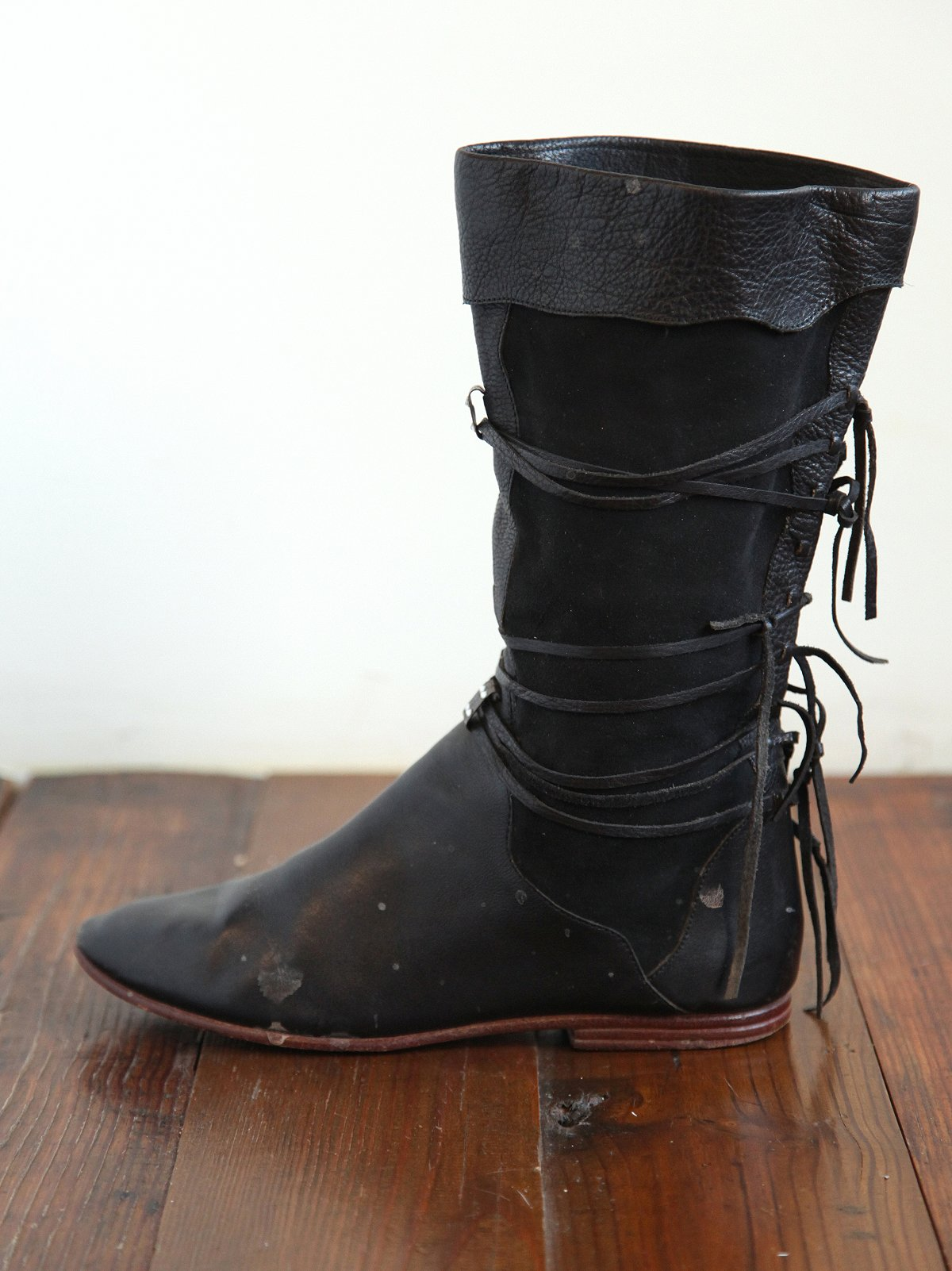 Vintage Black Leather Fringe Boots