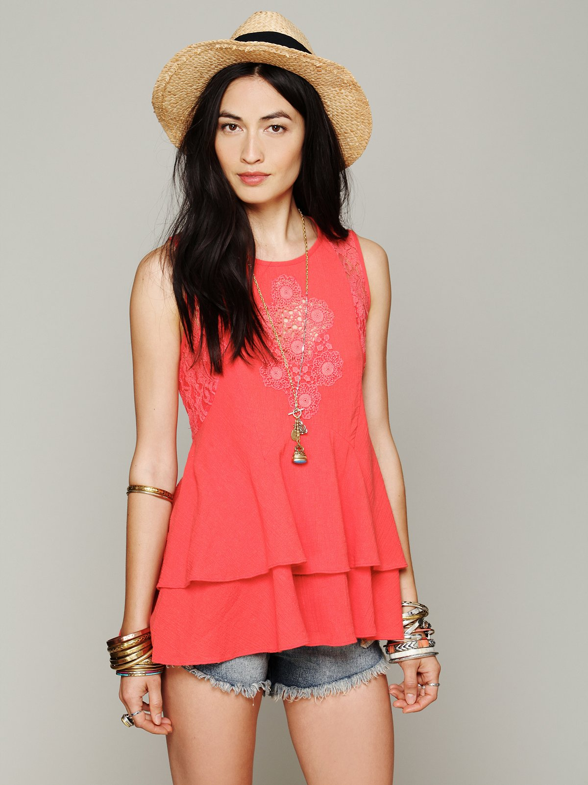 Sleeveless Lace Inset Tank
