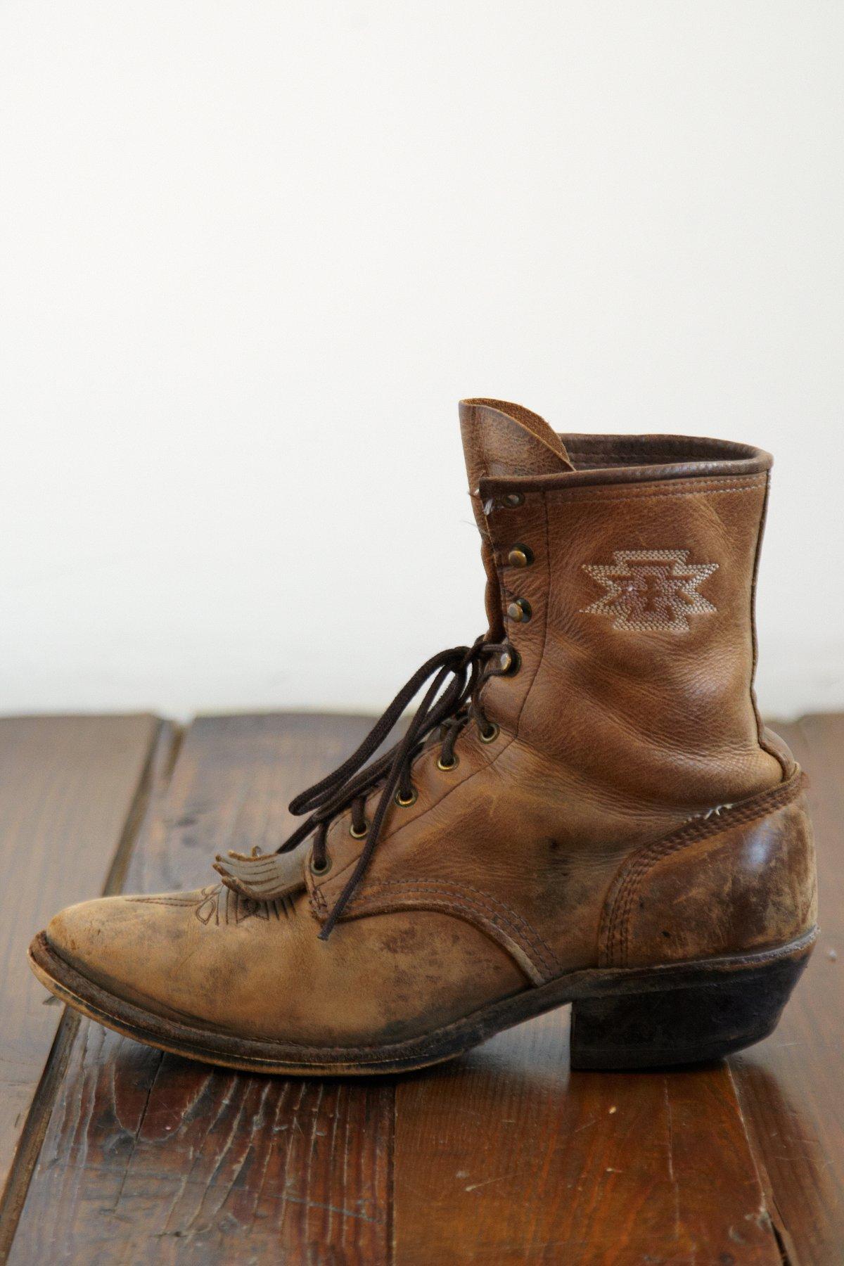 Vintage Distressed Leather Fringe Boots