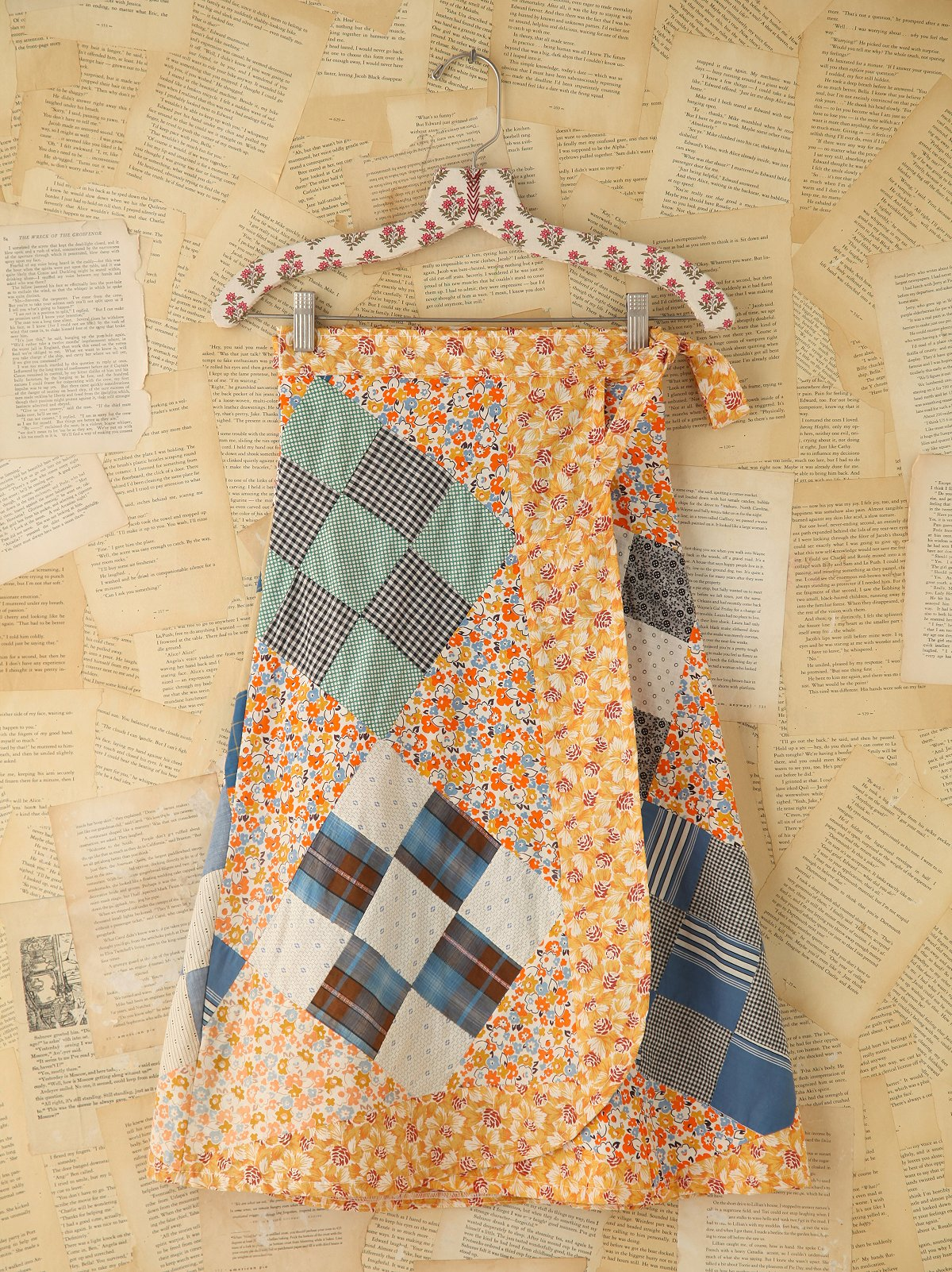 Vintage Patchwork Patterned Wrap Skirt