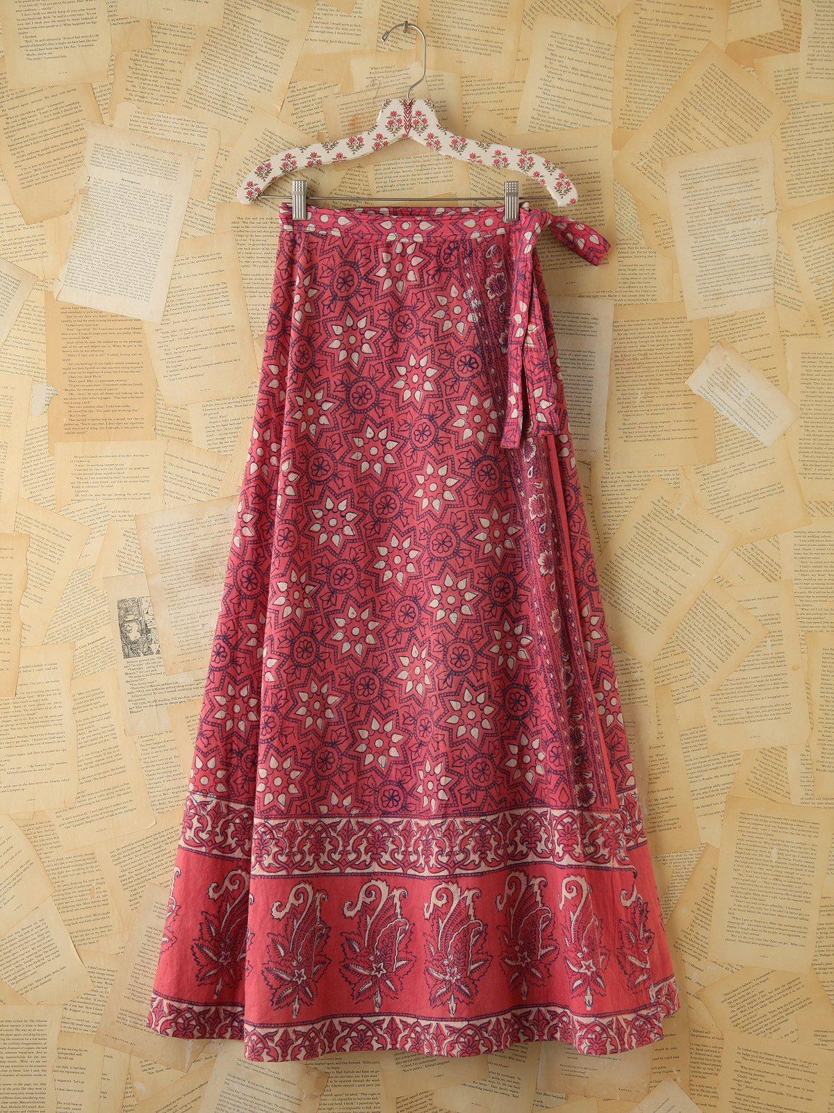 Vintage Pink Printed Wrap Maxi Skirt