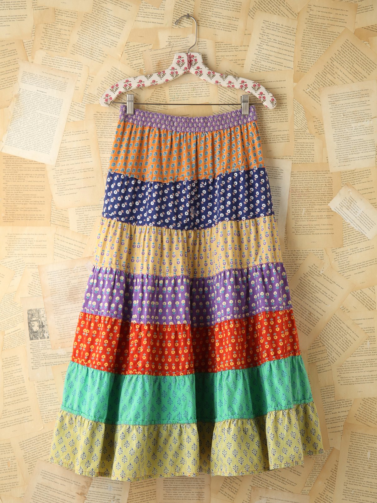 Vintage Colorful Printed Tiered Skirt