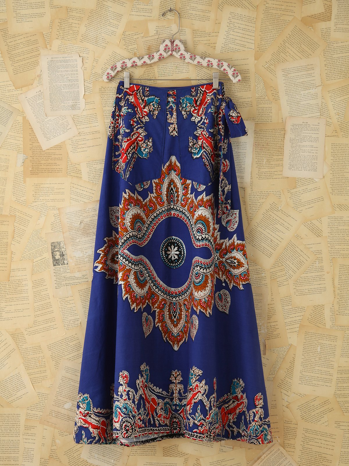 Vintage Printed Wrap Skirt with Pockets