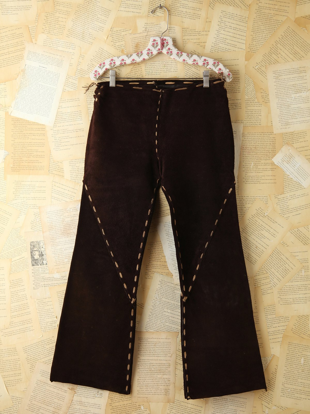 Vintage Brown Suede Flare Pants