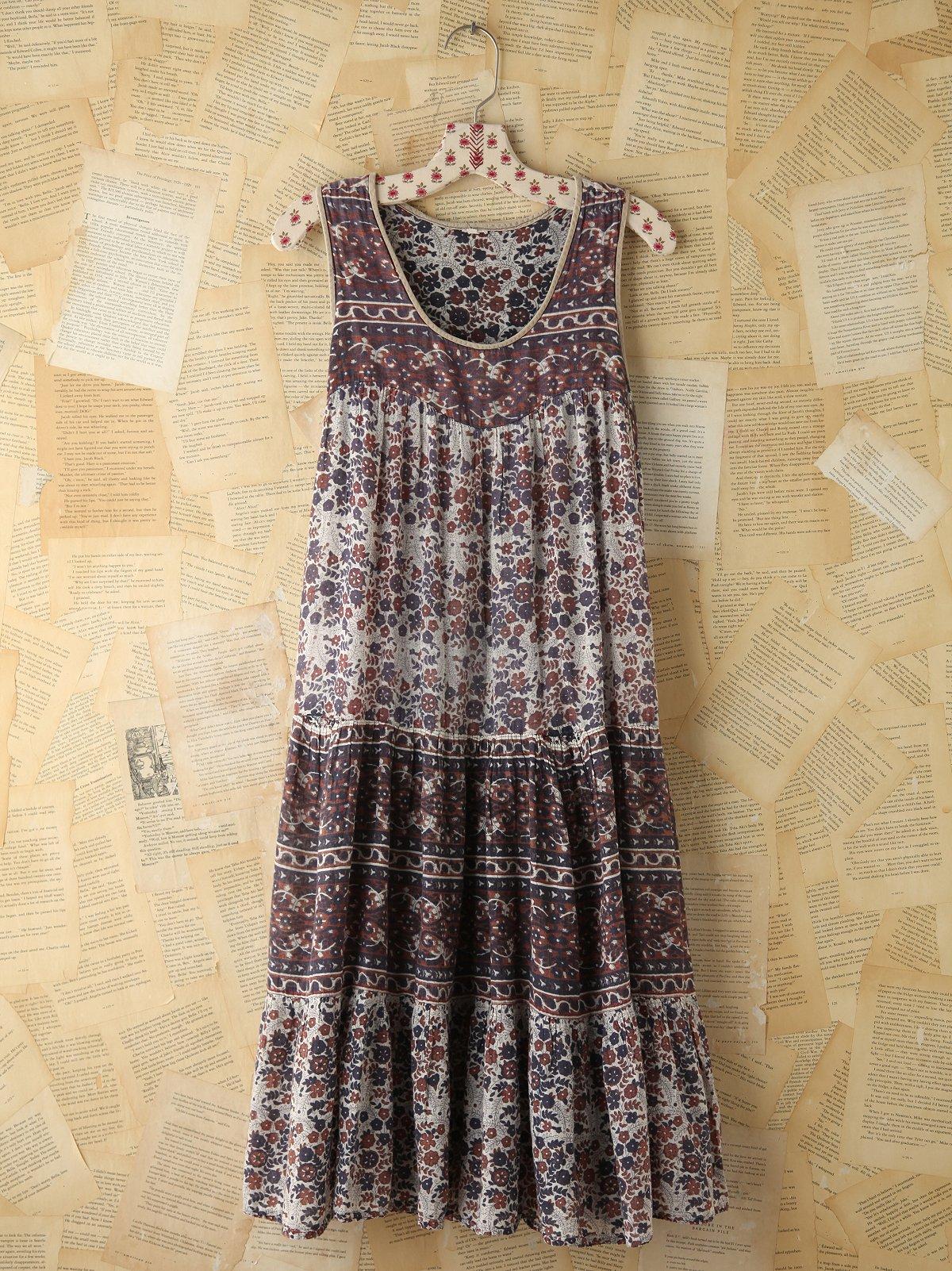 Vintage Floral Indian Print Dress