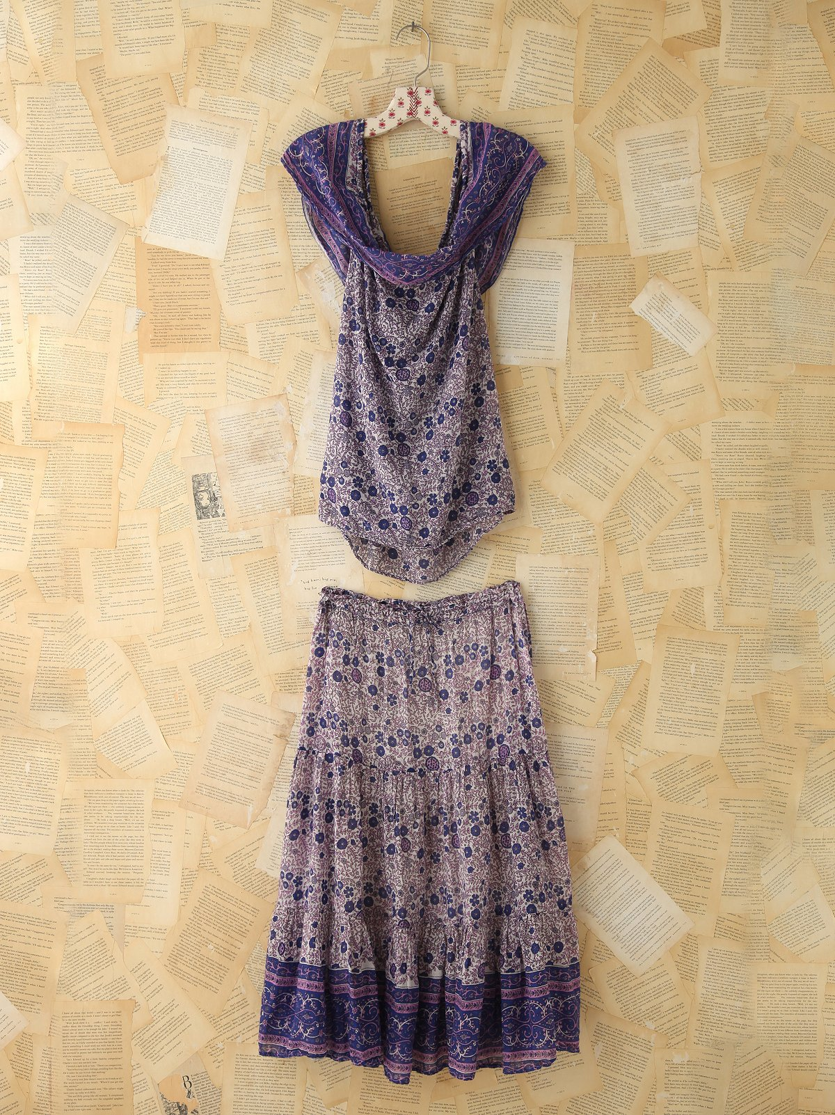 Vintage Floral Printed Skirt and Tank