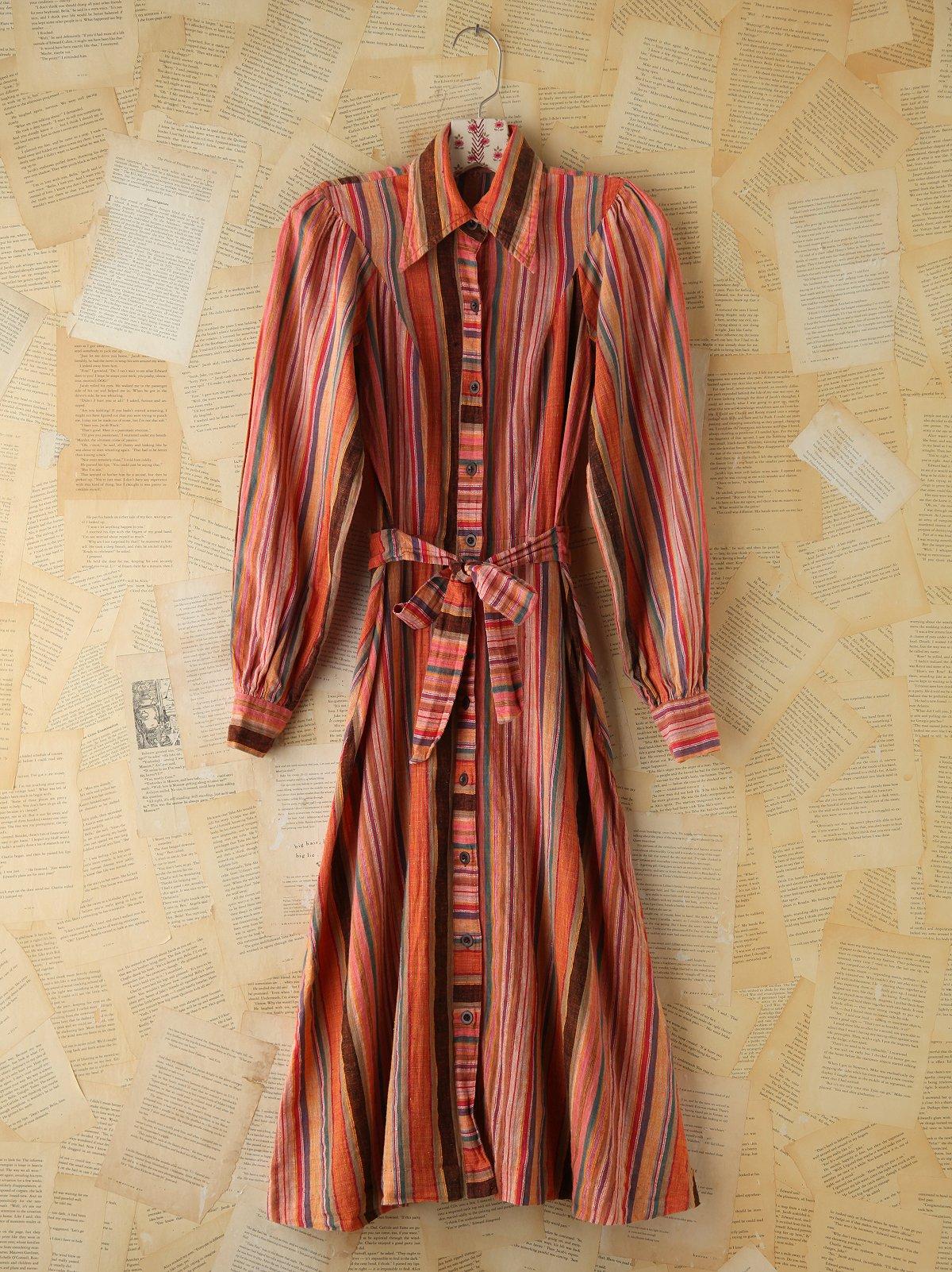 Vintage Multicolor Striped Buttonfront Dress