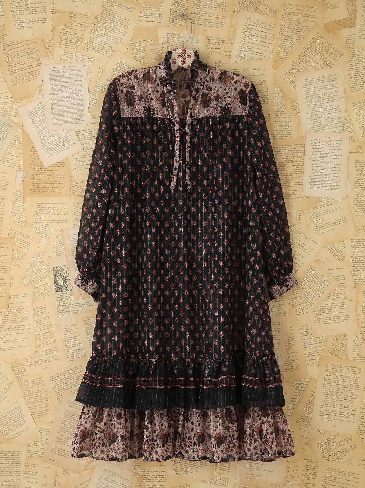 Vintage Sheer Printed Boho Dress
