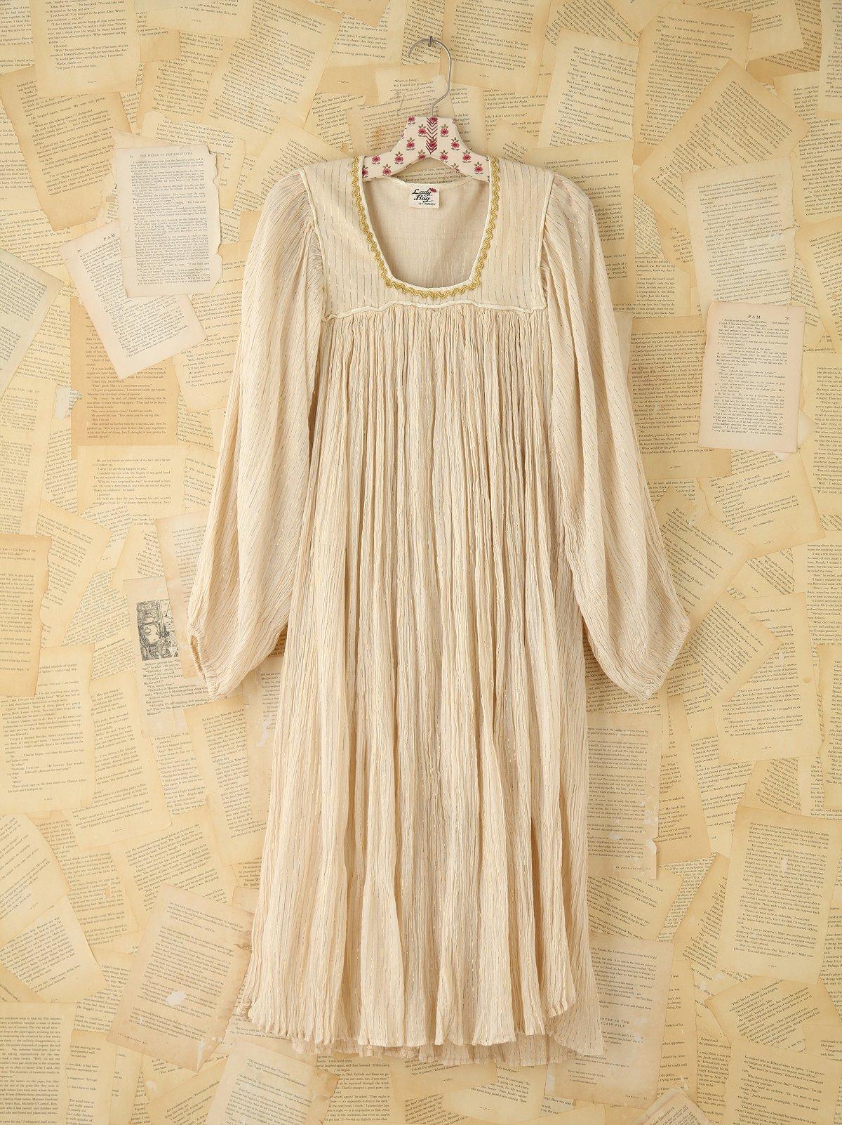 Vintage Metallic Striped Dress