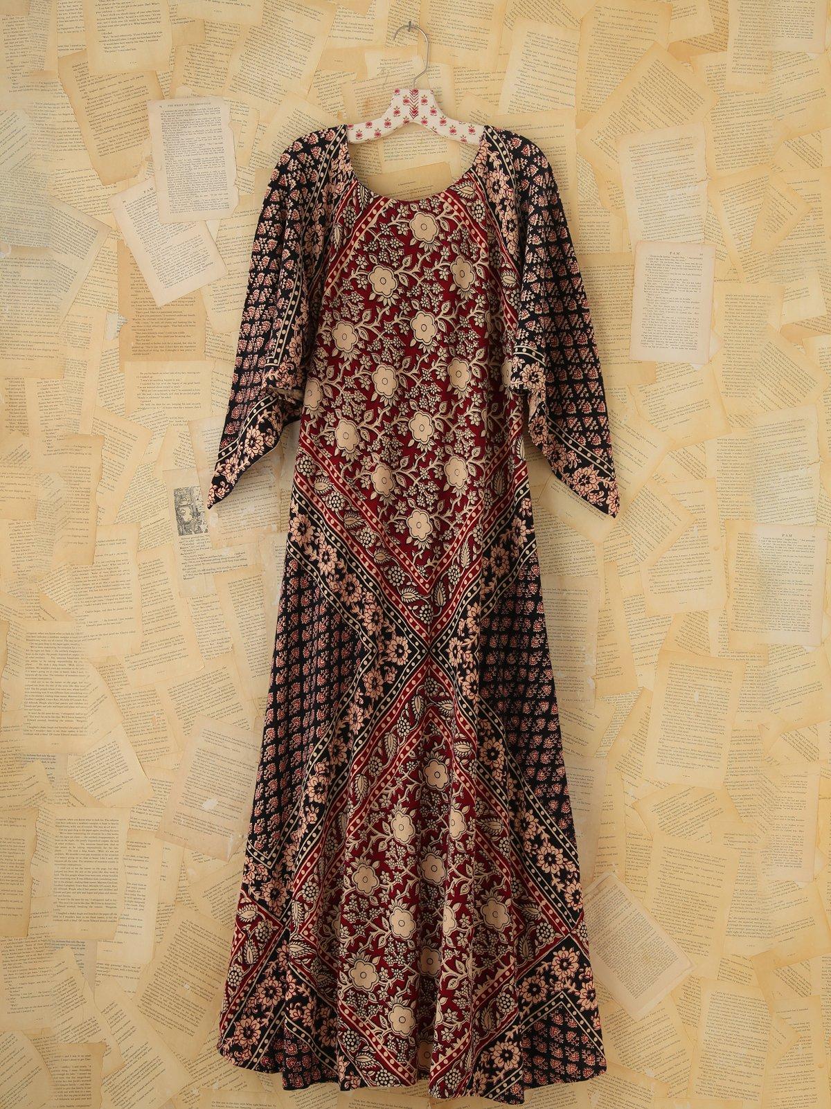 Vintage Printed Maxi Dress