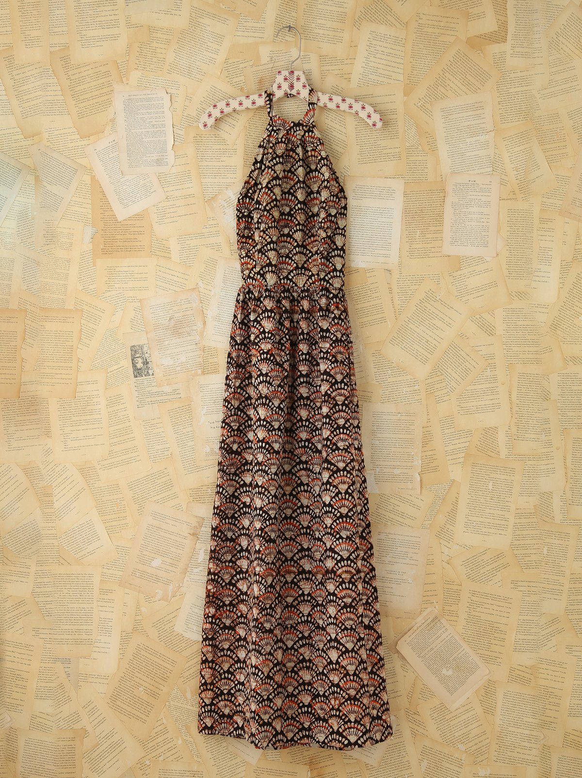 Vintage Printed Halter Maxi Dress