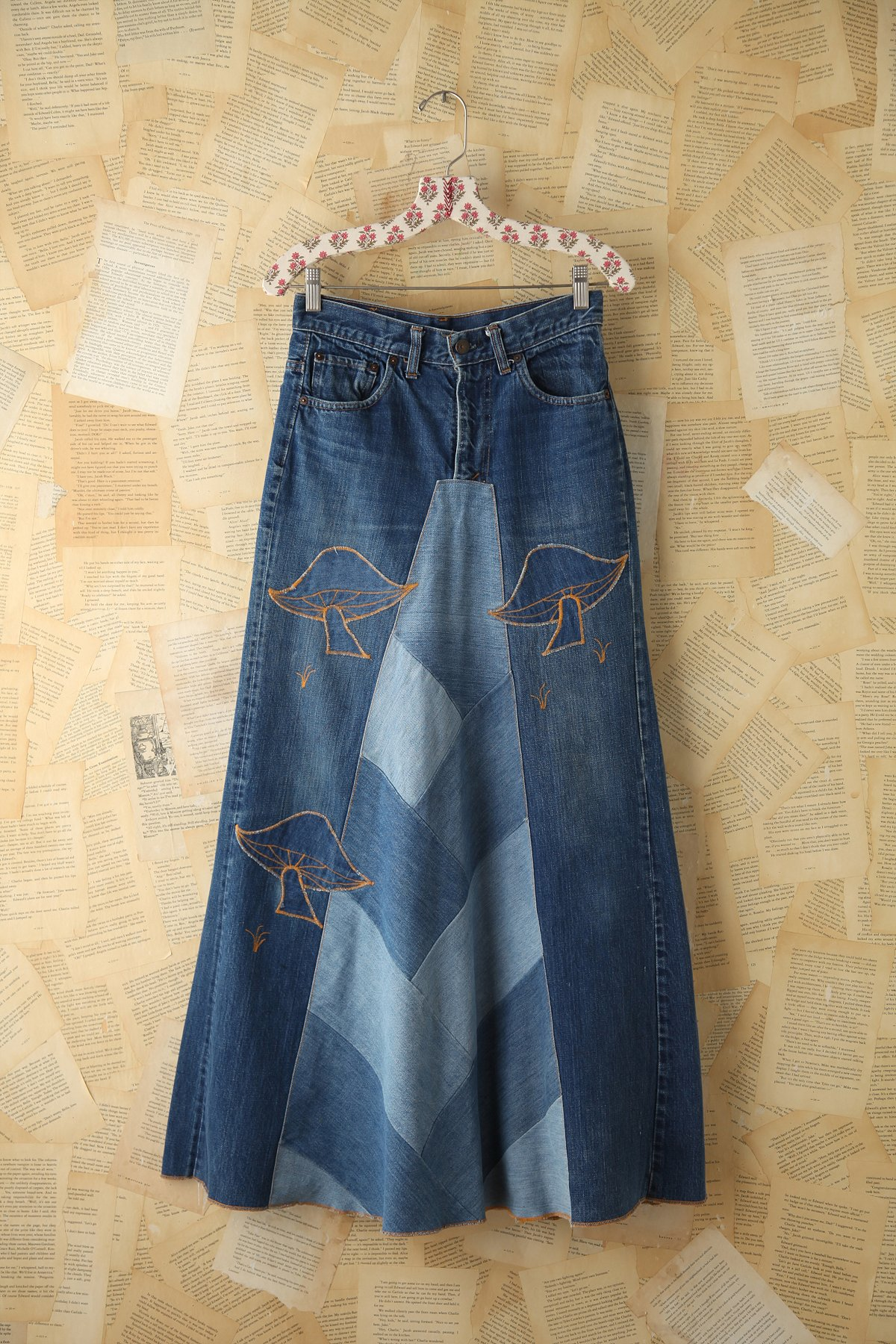 Vintage Denim Patchwork Maxi Skirt