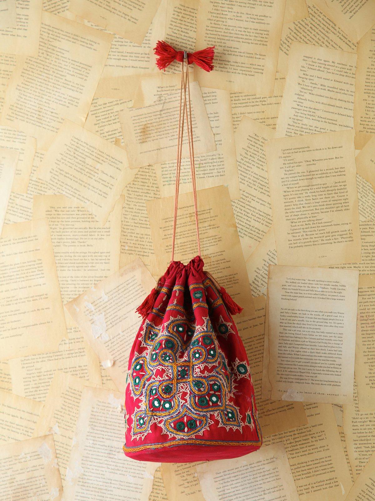 Vintage Embroidered Drawstring Bag
