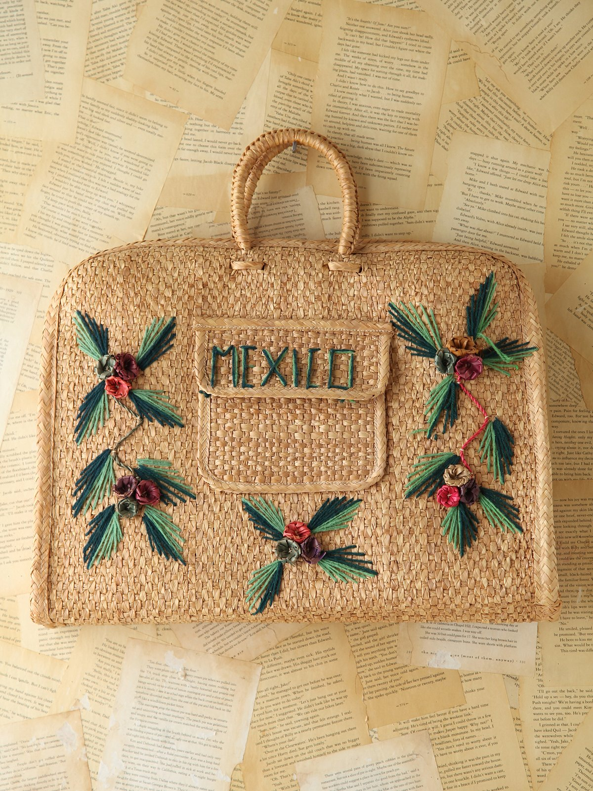 Vintage Mexico Woven Straw Tote