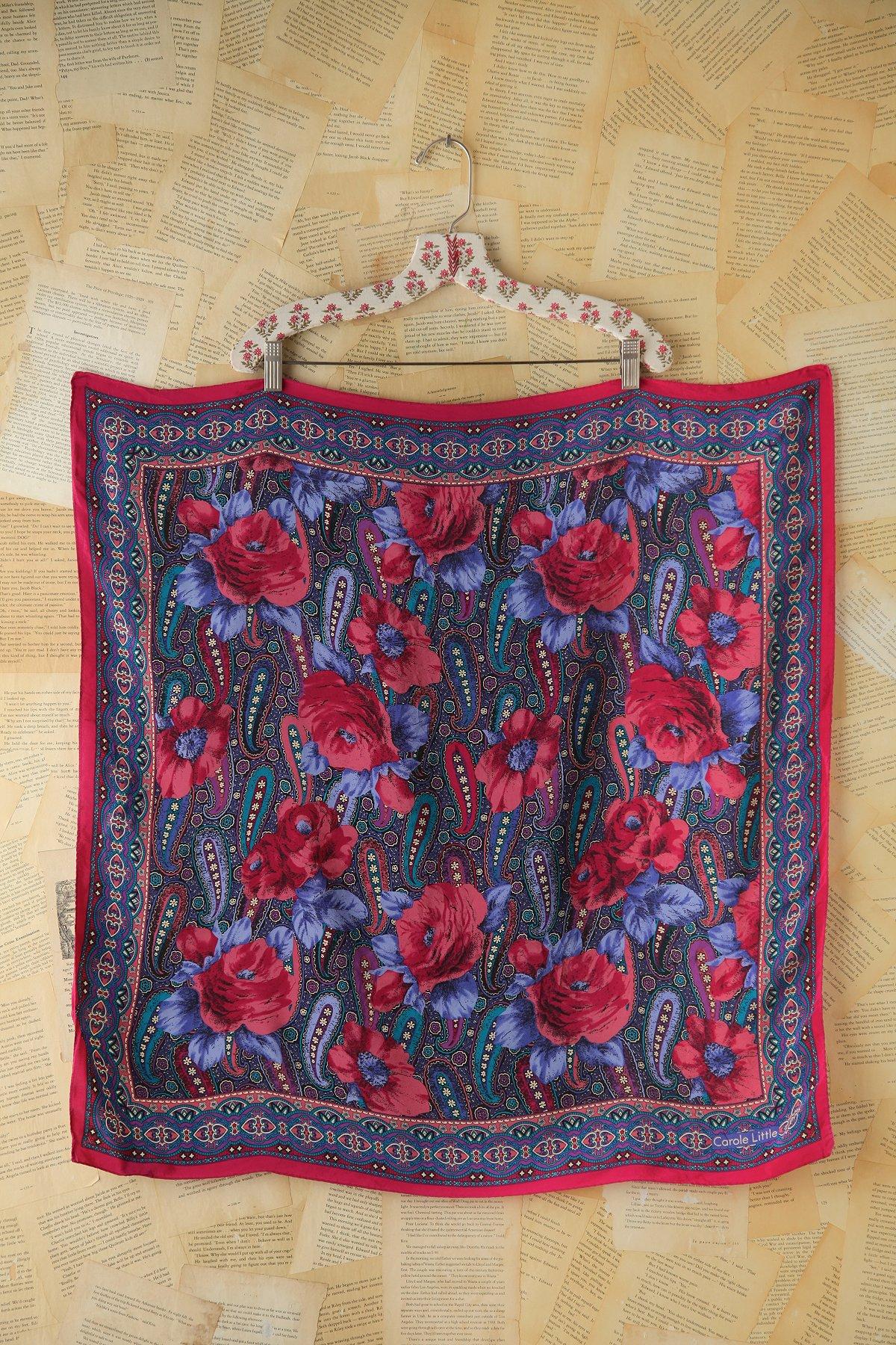 Vintage Floral Printed Silk Scarf