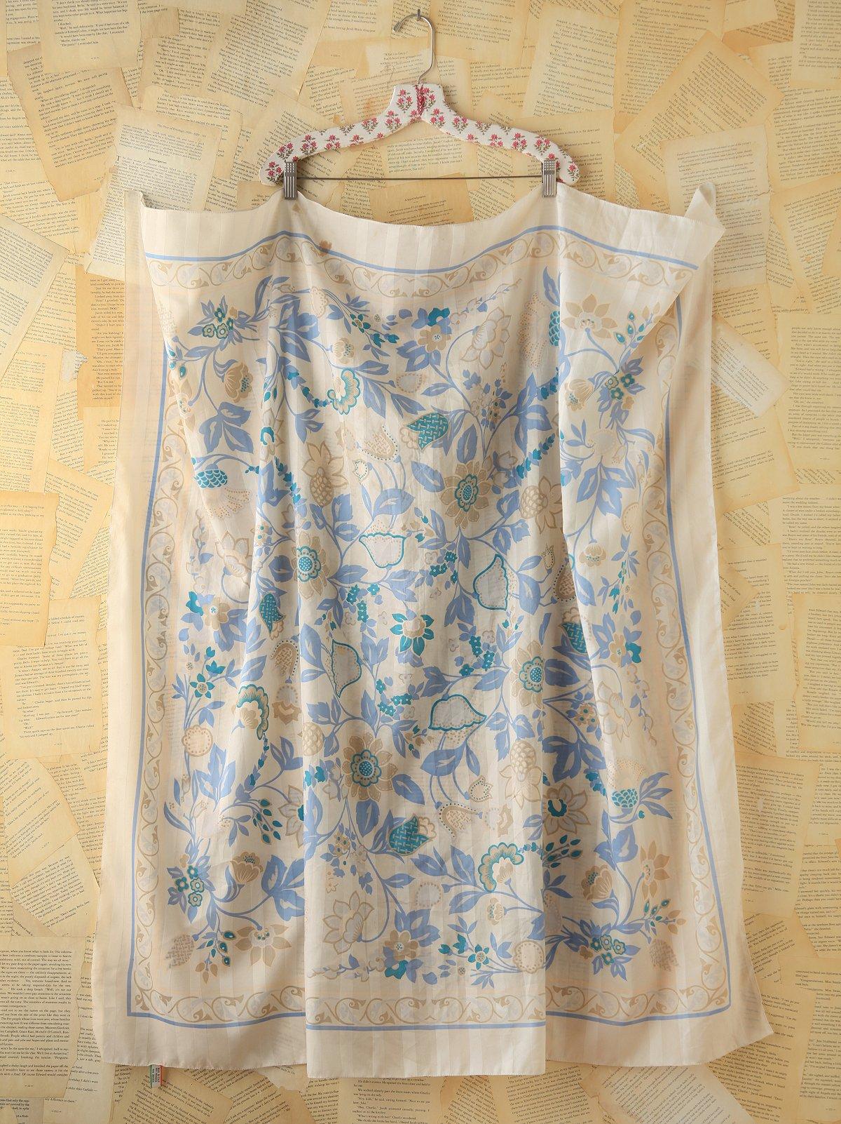Vintage Blue Floral Printed Scarf