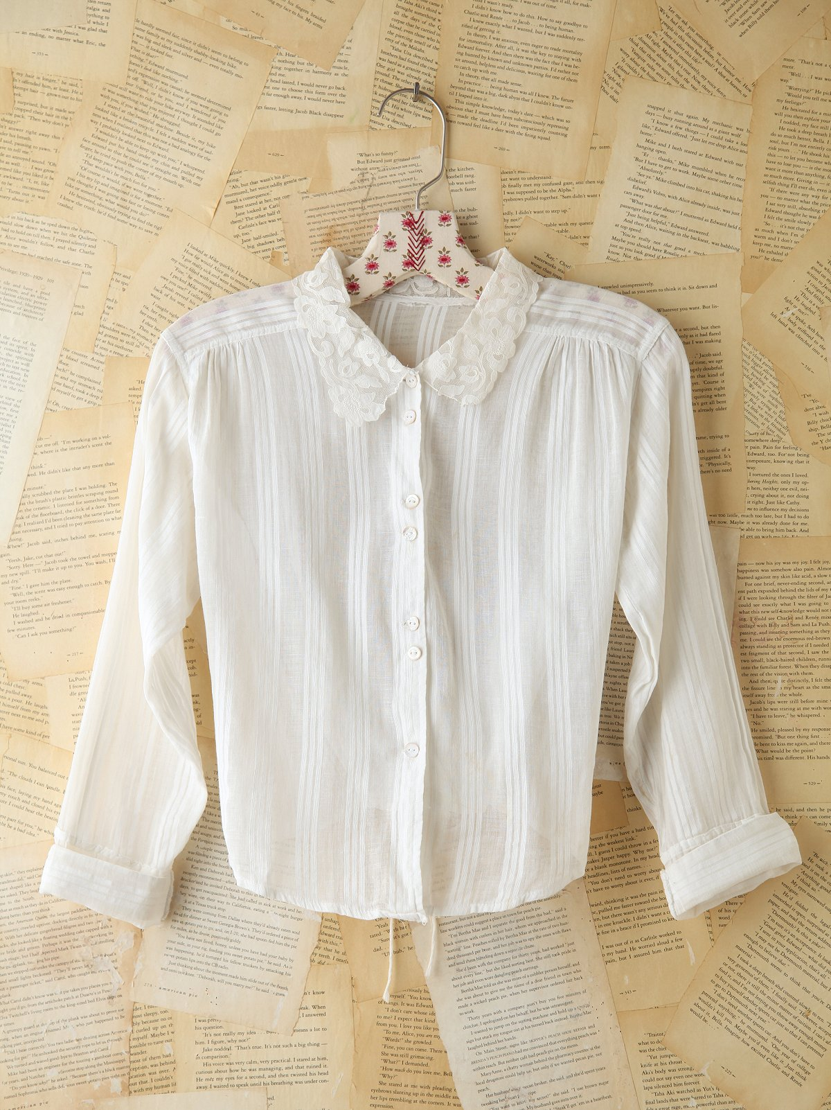 Vintage Button Front Lace Collared Blouse