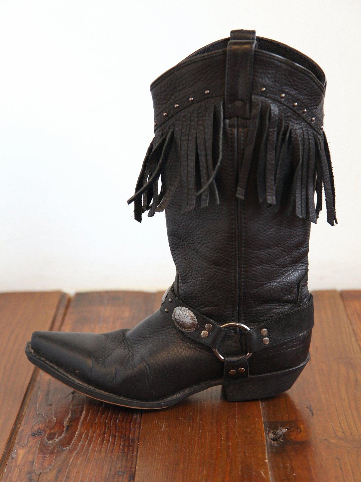 Vintage Black Leather Fringe Boots
