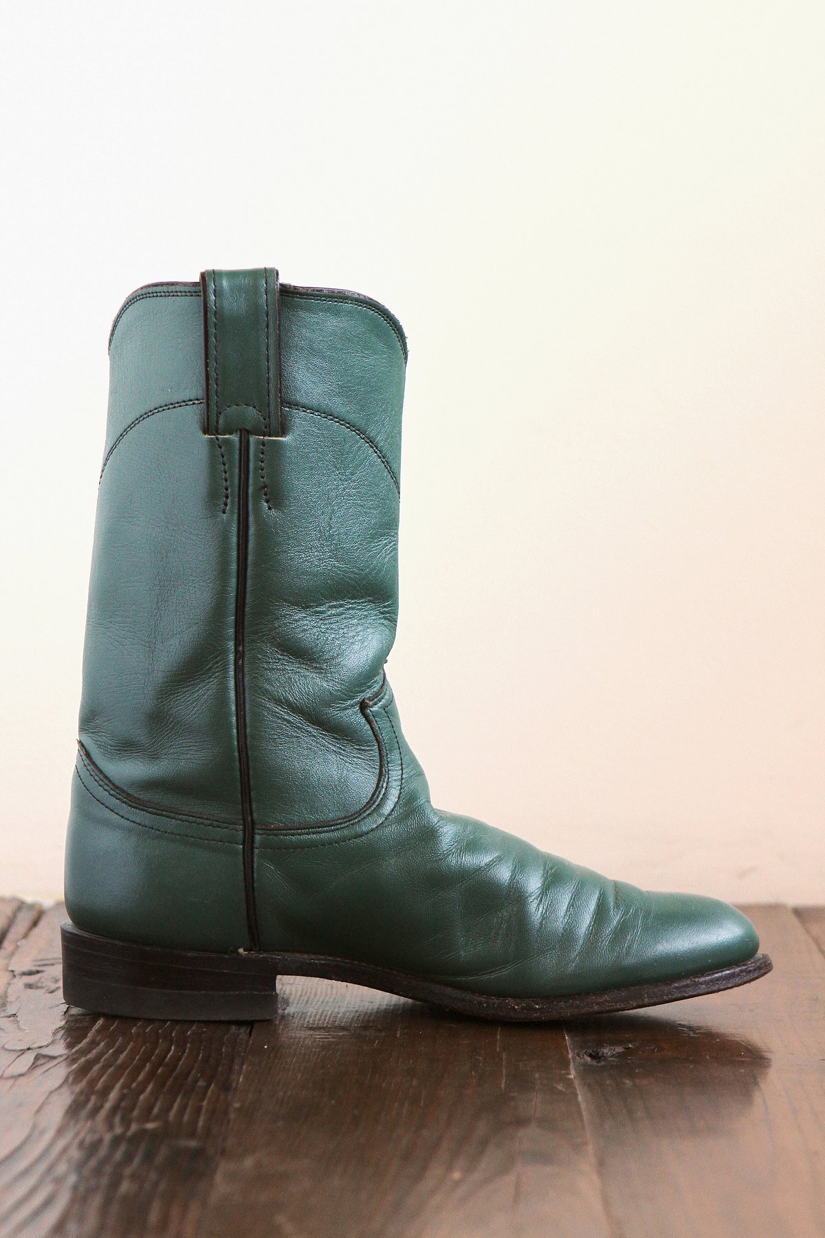Vintage Green Leather Cowboy Boots