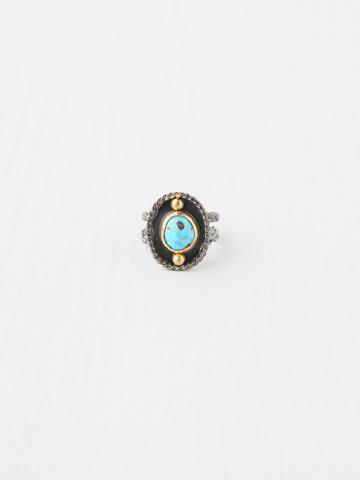 Mixed Metal and Turquoise Ring