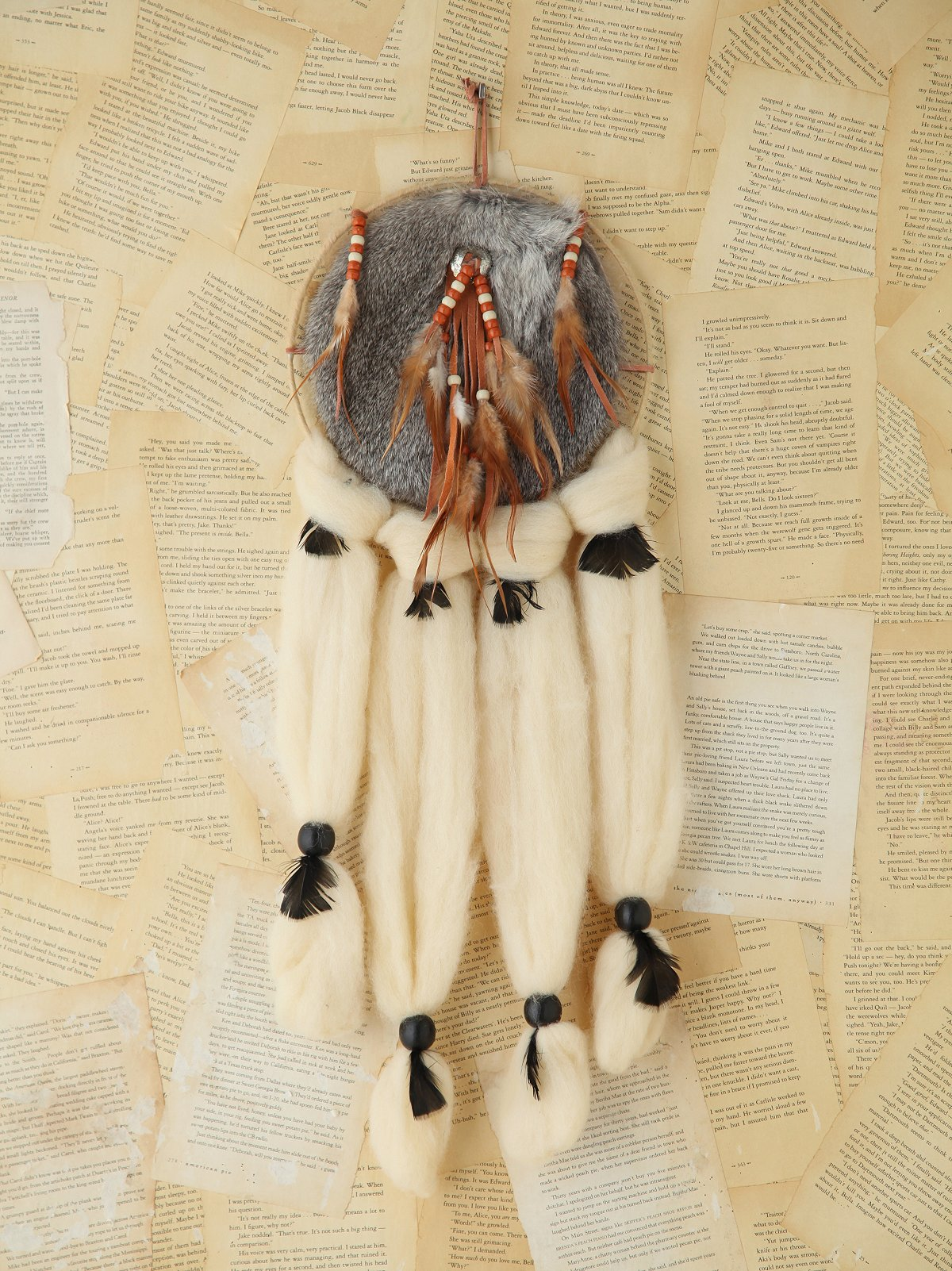 Vintage Large Furry Dreamcatcher