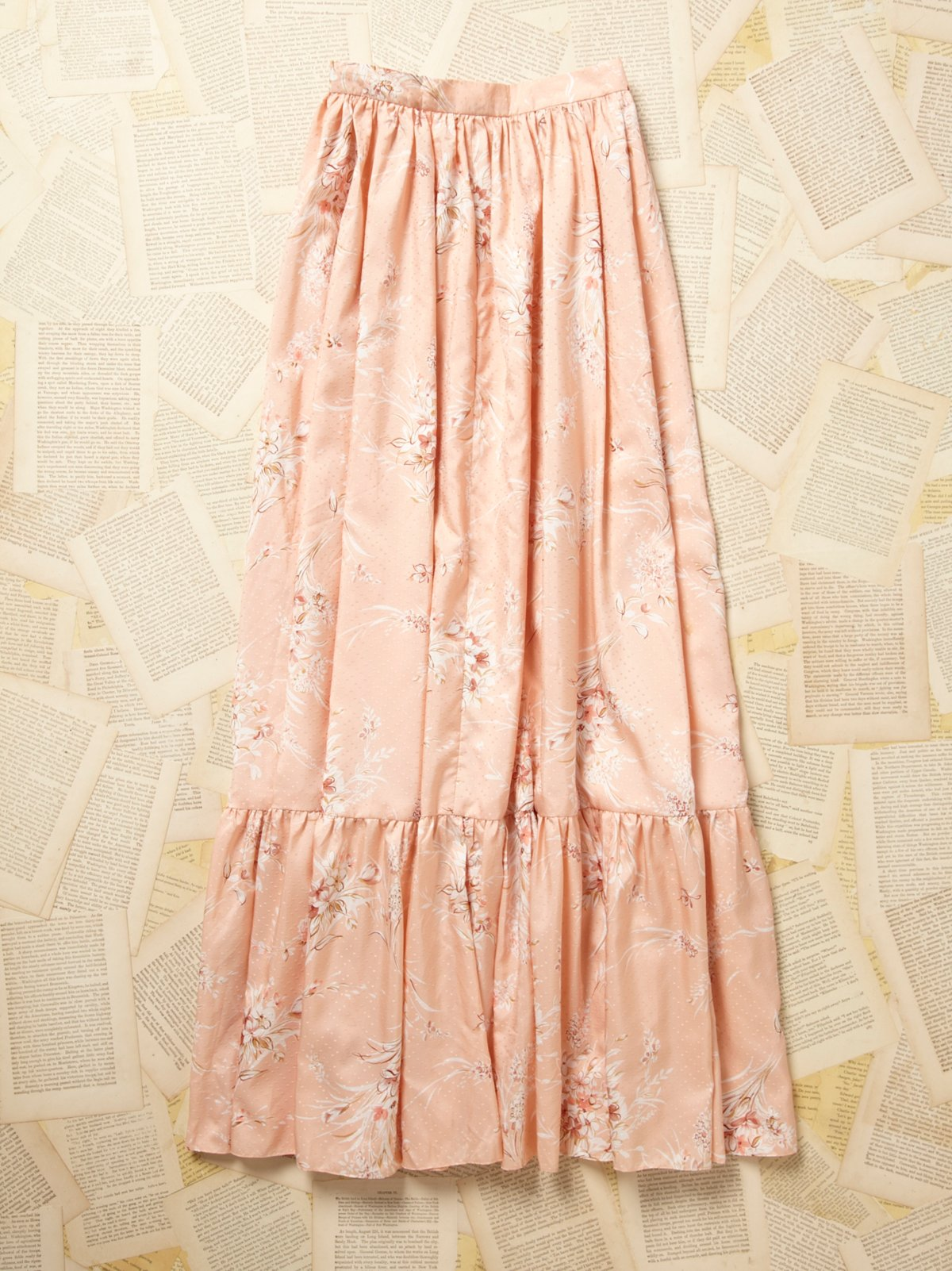 Vintage Long Printed Ruffle Skirt