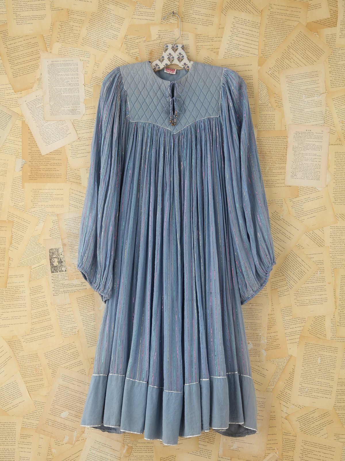 Vintage Gauzy Metallic Striped Dress