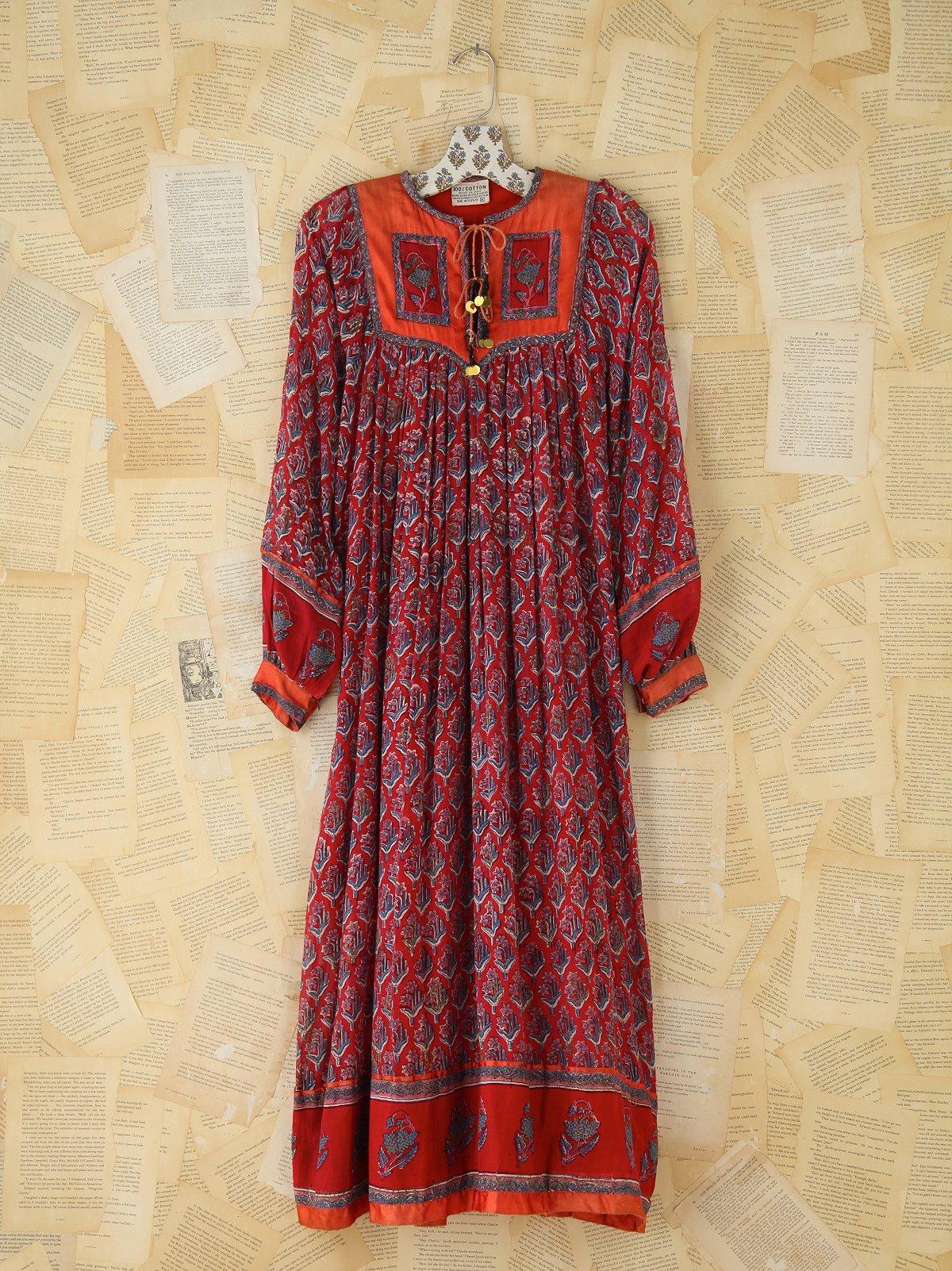 Vintage Printed Indian Dress