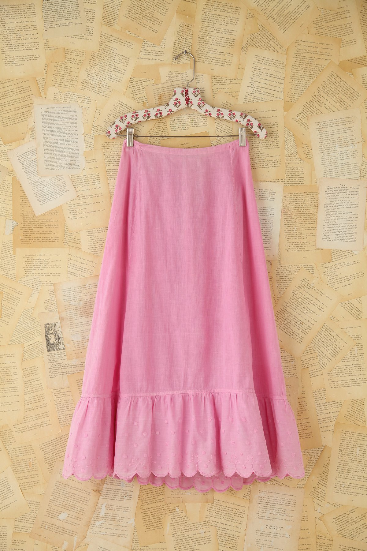 Vintage Pink Embroidered Skirt