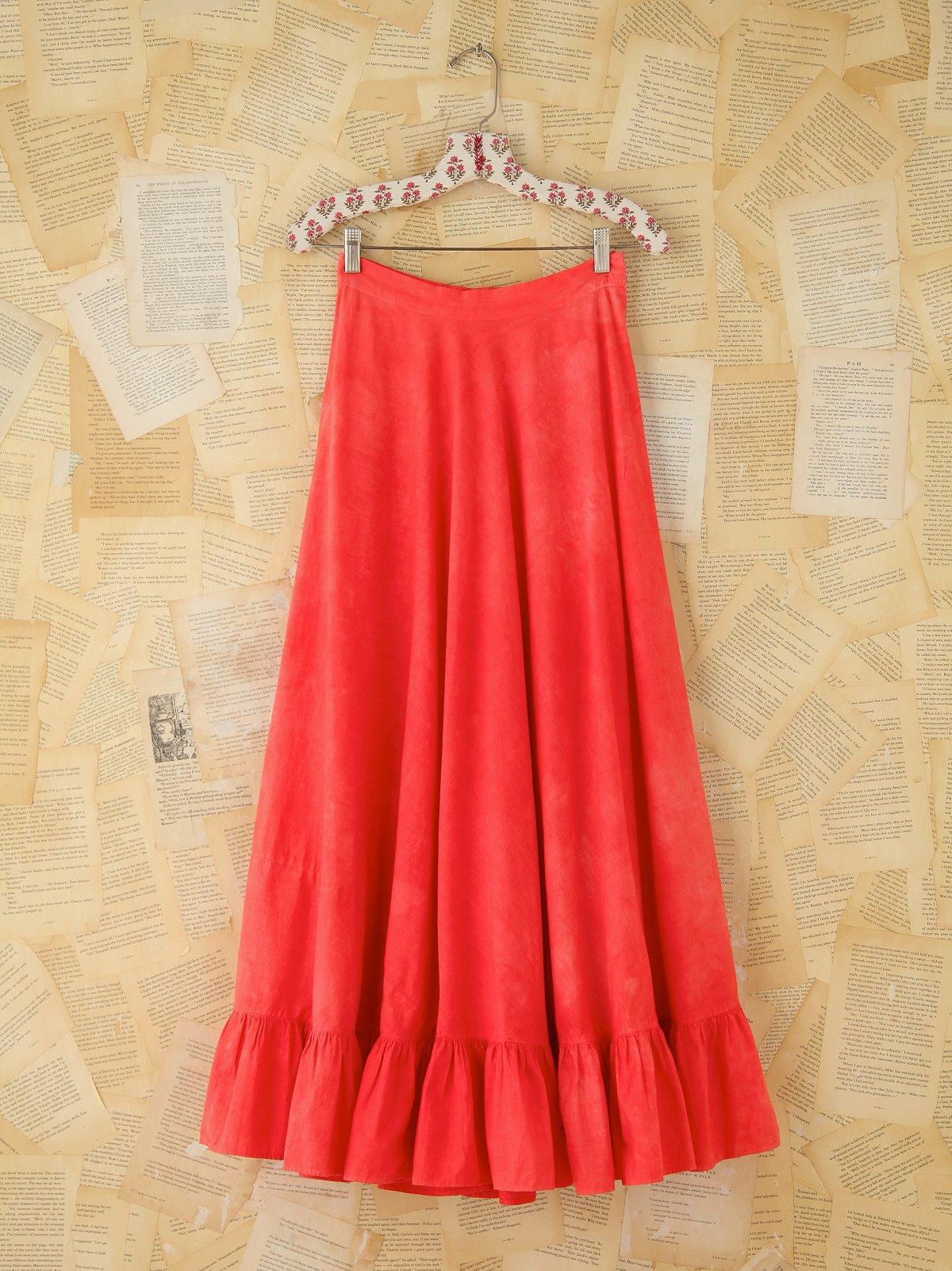 Vintage Pink Ruffled Maxi Skirt