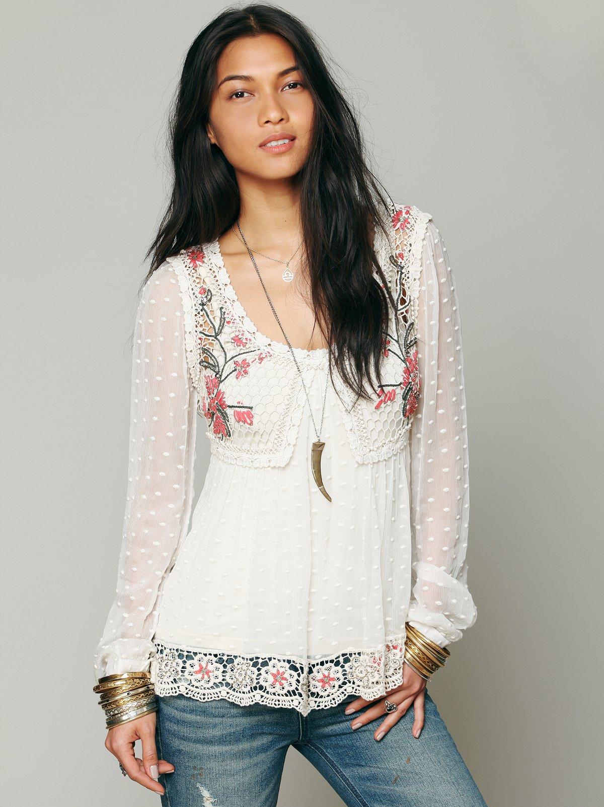 Embroidered Open Stitch Top