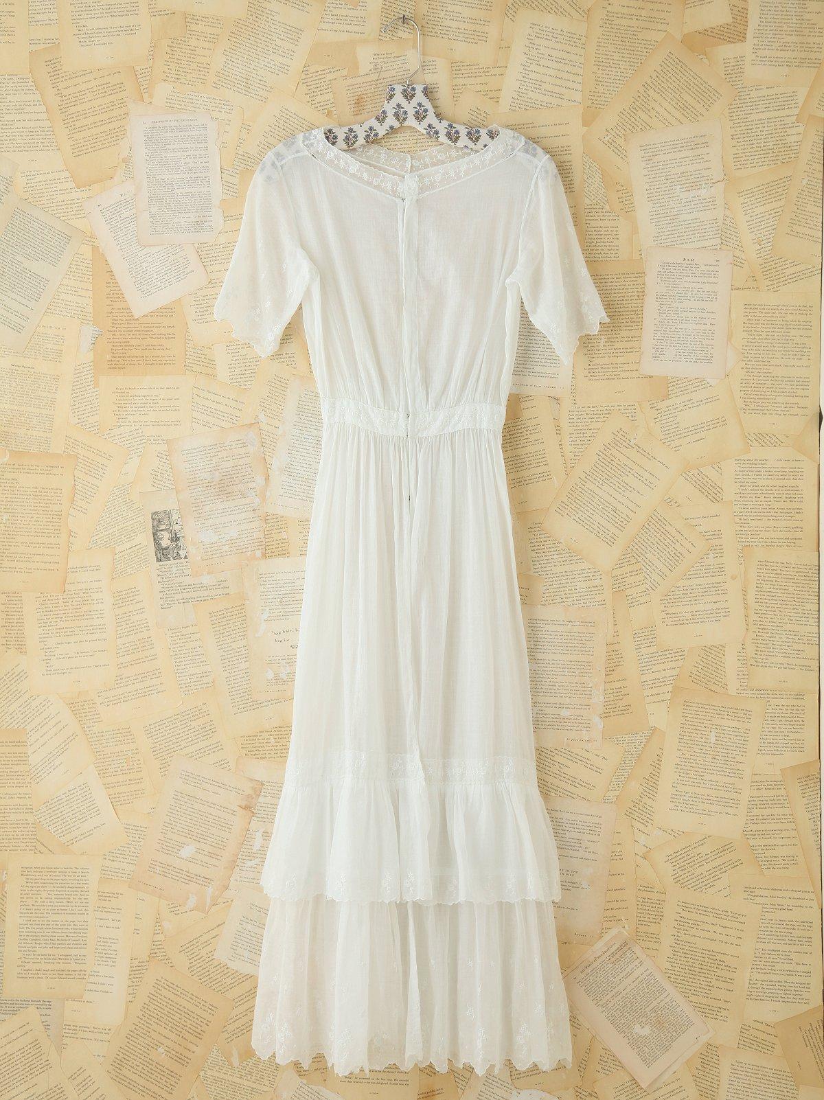 Vintage White Cotton Maxi Dress