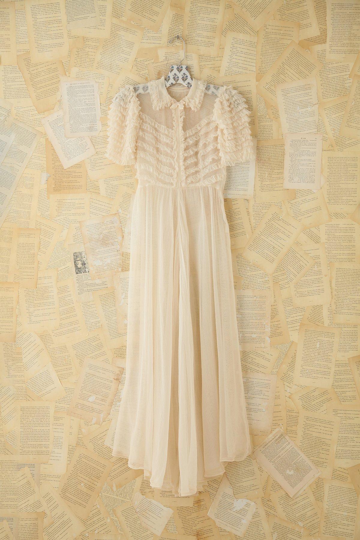 Vintage Sheer Ruffled Maxi Dress