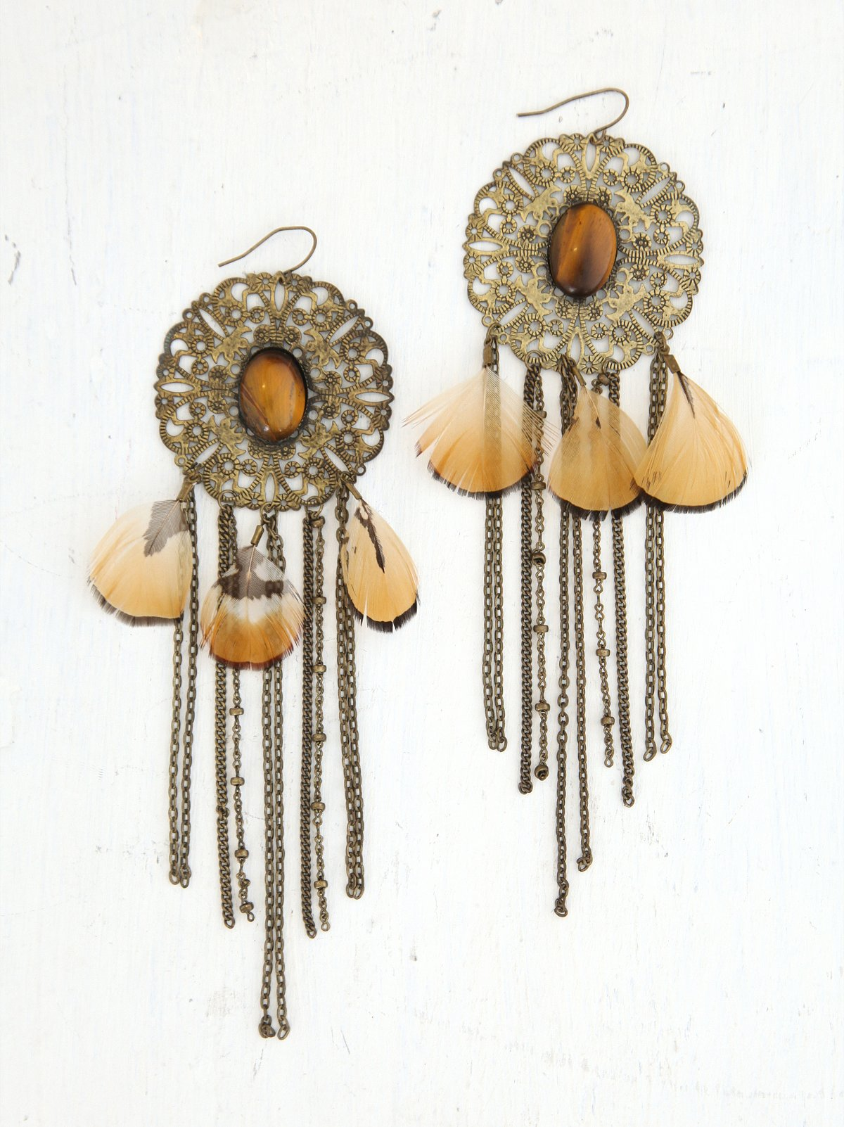 Vintage Metal Fringe and Feather Earrings