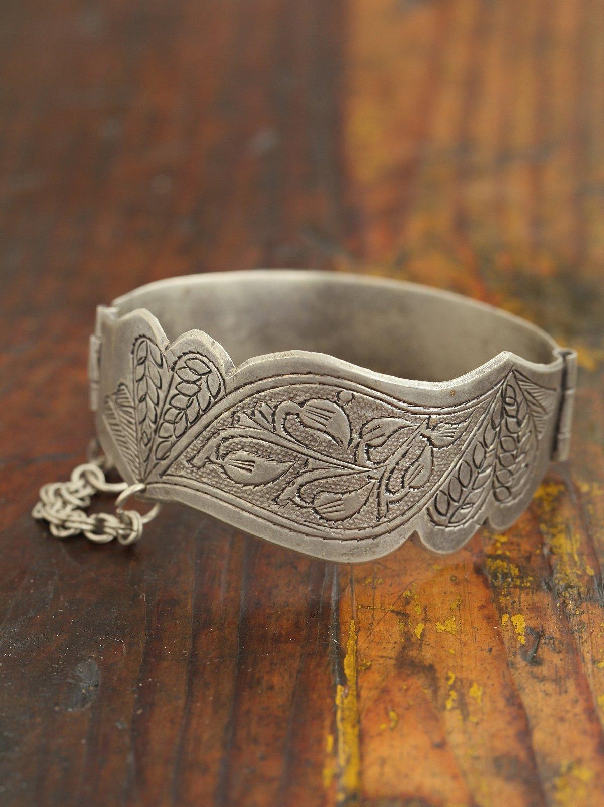 Vintage Etched Metal Cuff Bracelet