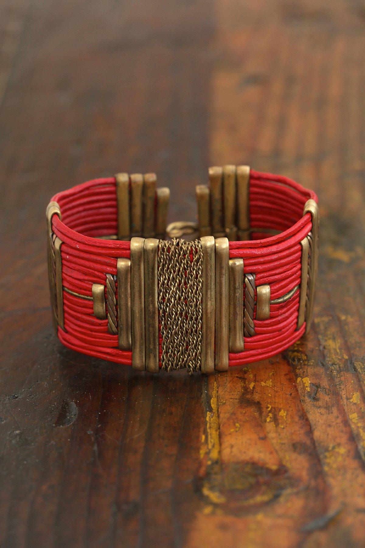 Vintage Brass Embellished Cuff