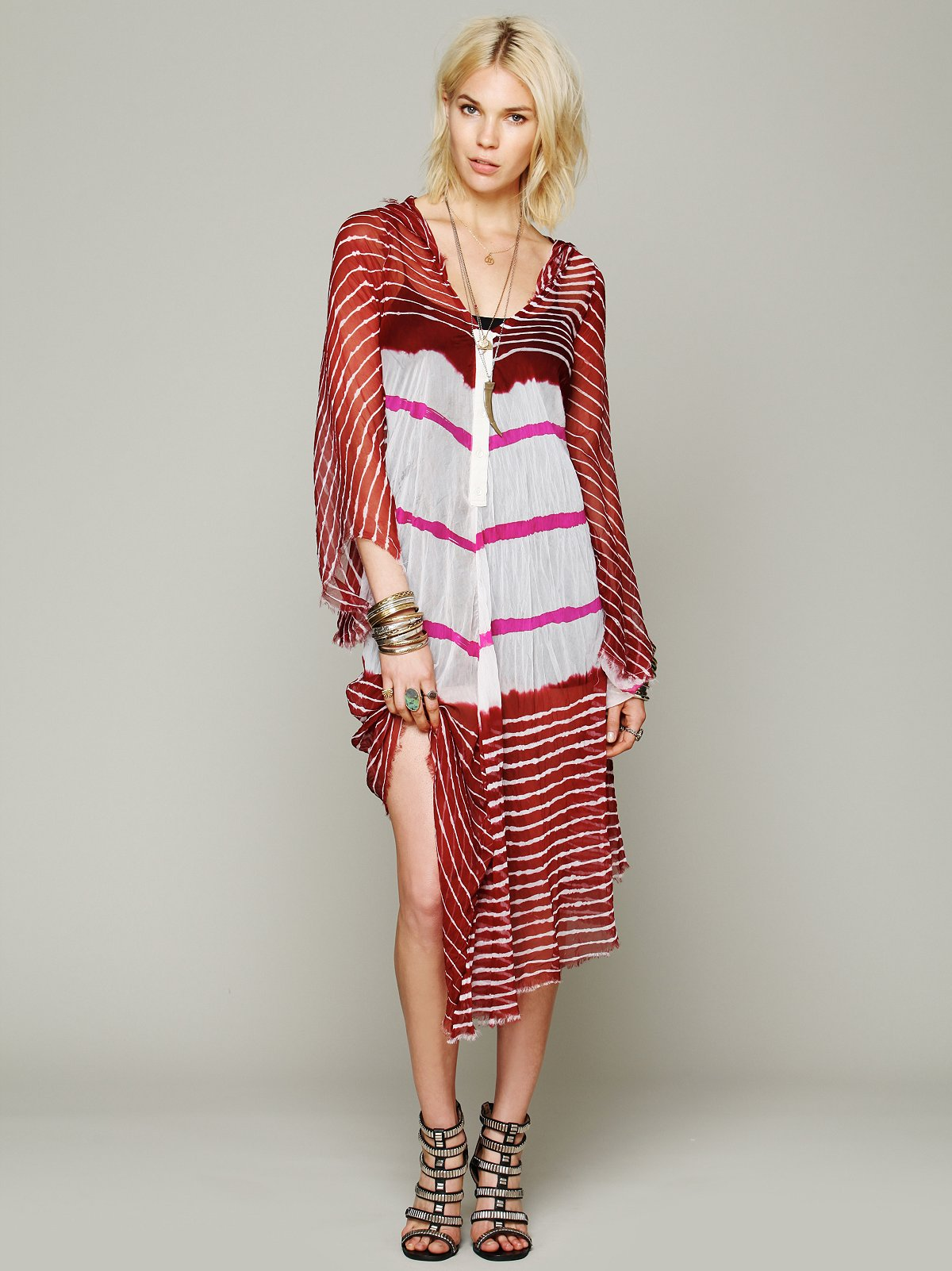 Lovely In Stripes Hooded Kaftan