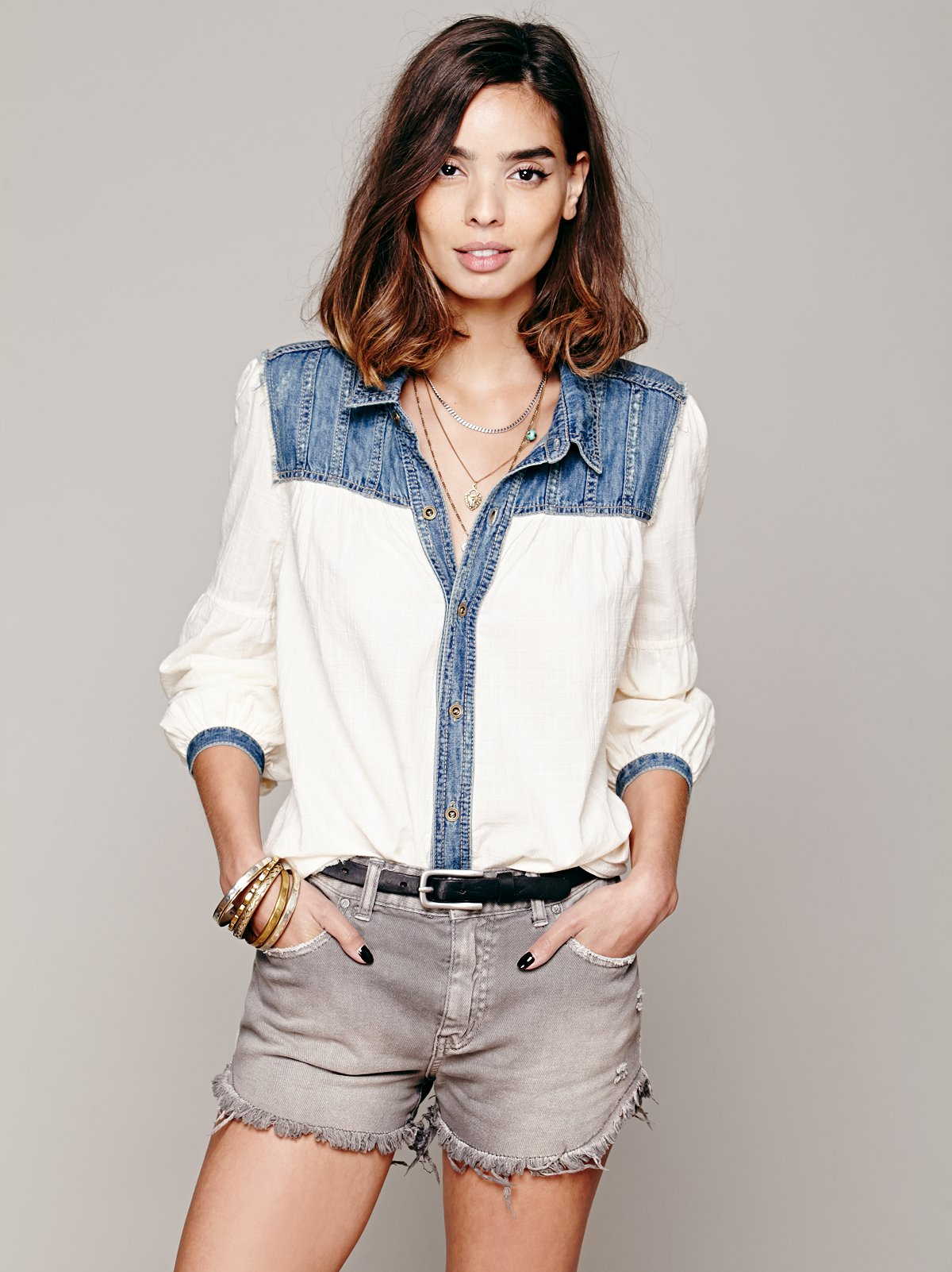 Long Sleeve Denim Yoke Hi Low Top