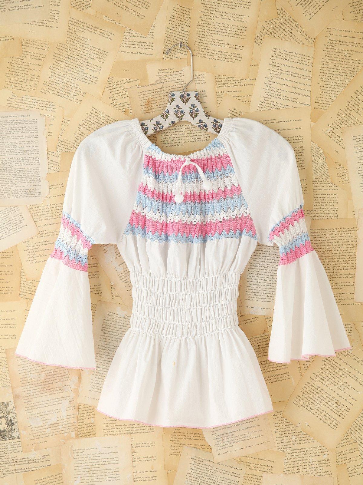 Vintage Crochet Peasant Top
